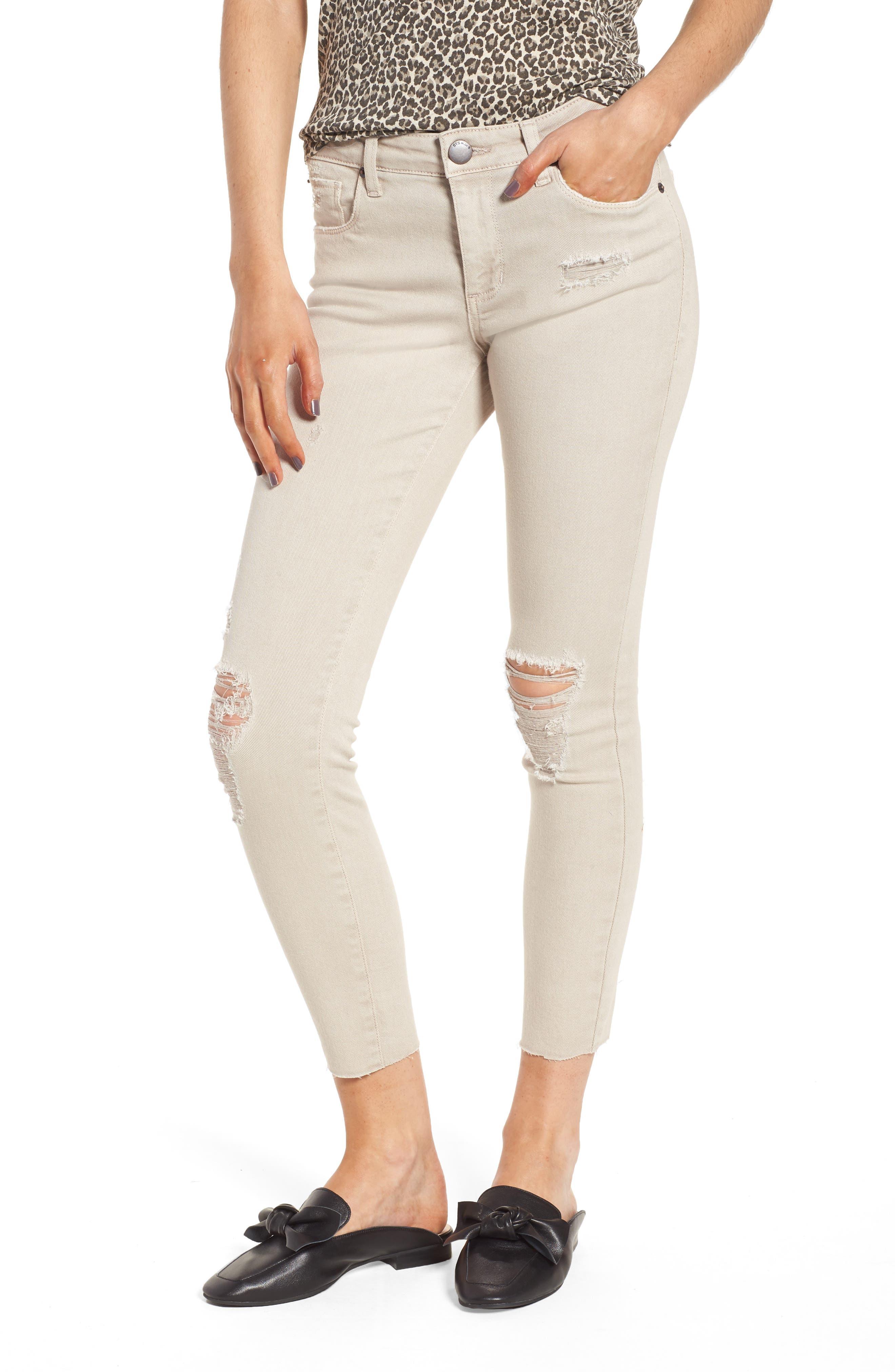 Main Image - STS Blue Emma Distressed Raw Hem Skinny Jeans (Dim Grey)