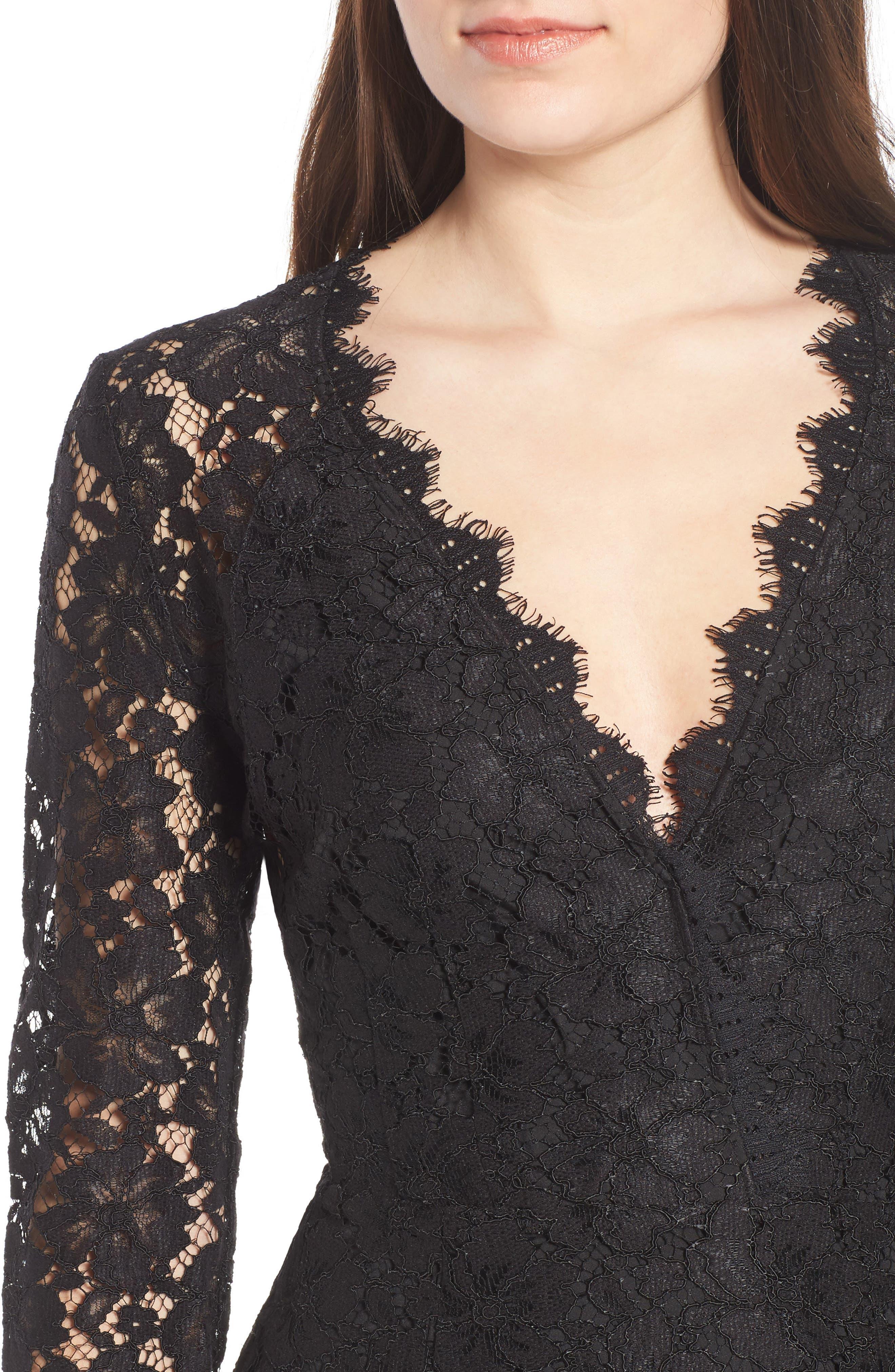 Say It Out Loud Lace Dress,                             Alternate thumbnail 4, color,                             Black