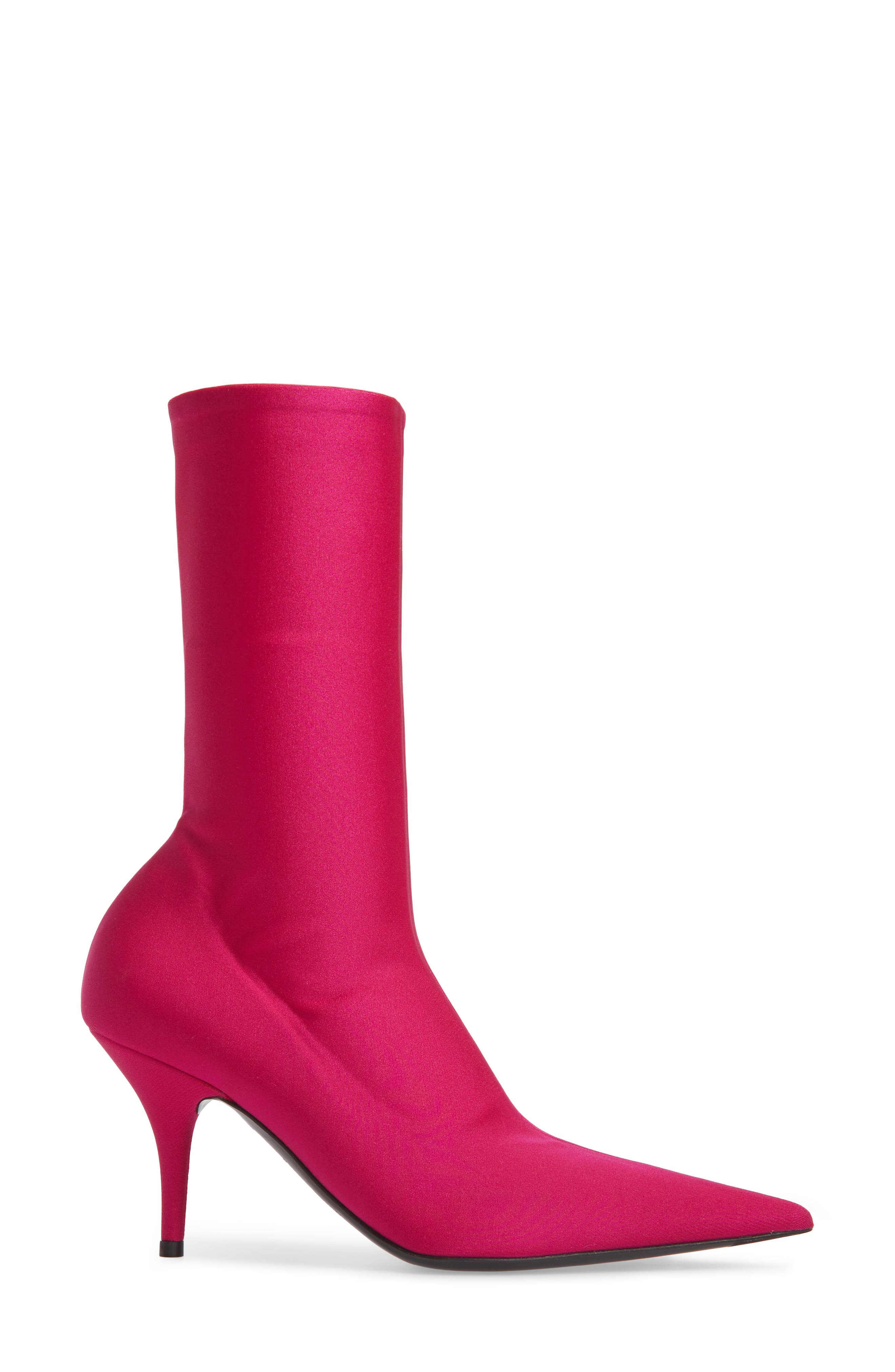 Pointy Toe Mid Bootie,                             Alternate thumbnail 3, color,                             Pink