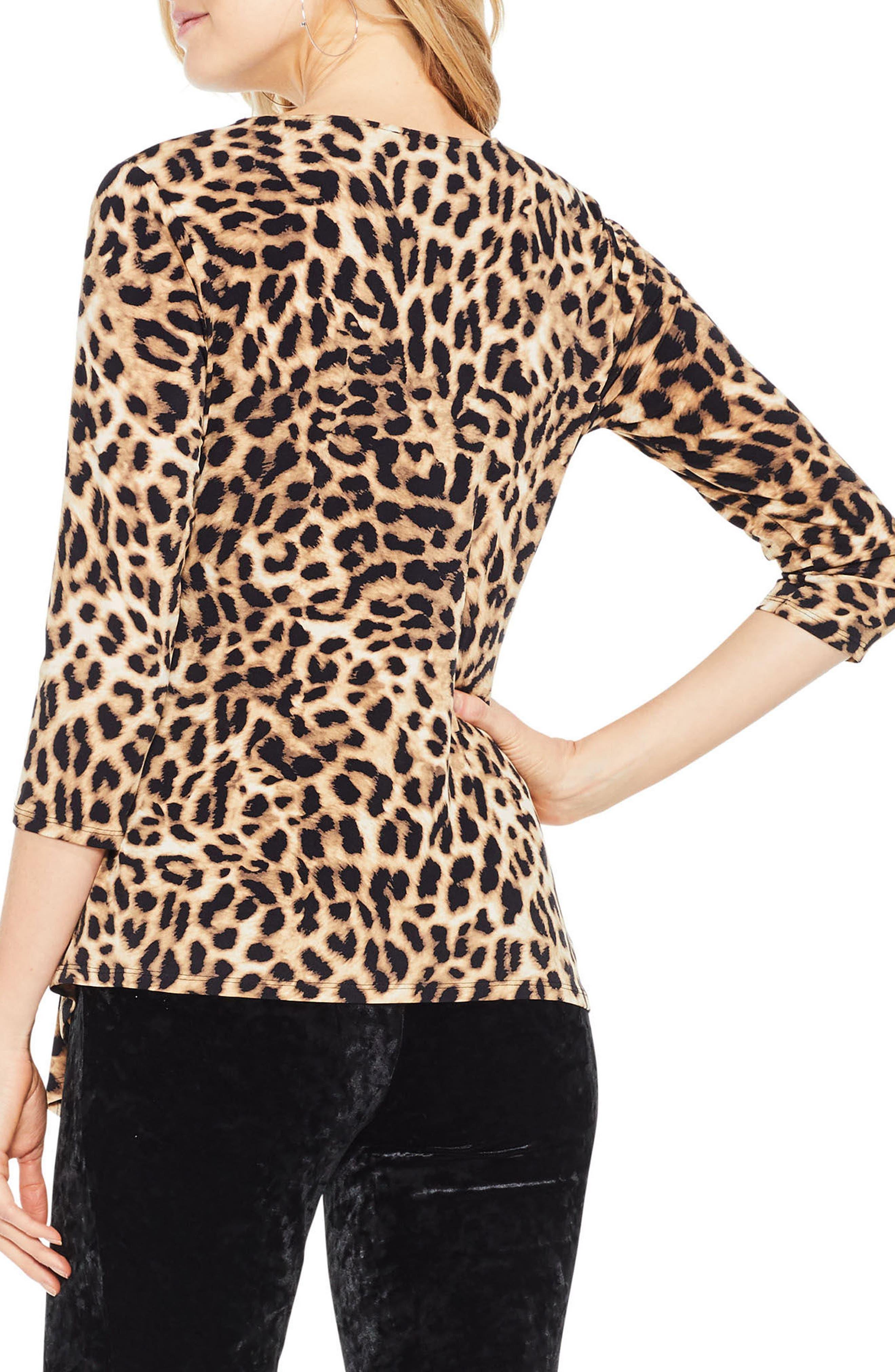 Alternate Image 3  - Vince Camuto Leopard Print Asymmetrical Hem Top (Regular & Petite)