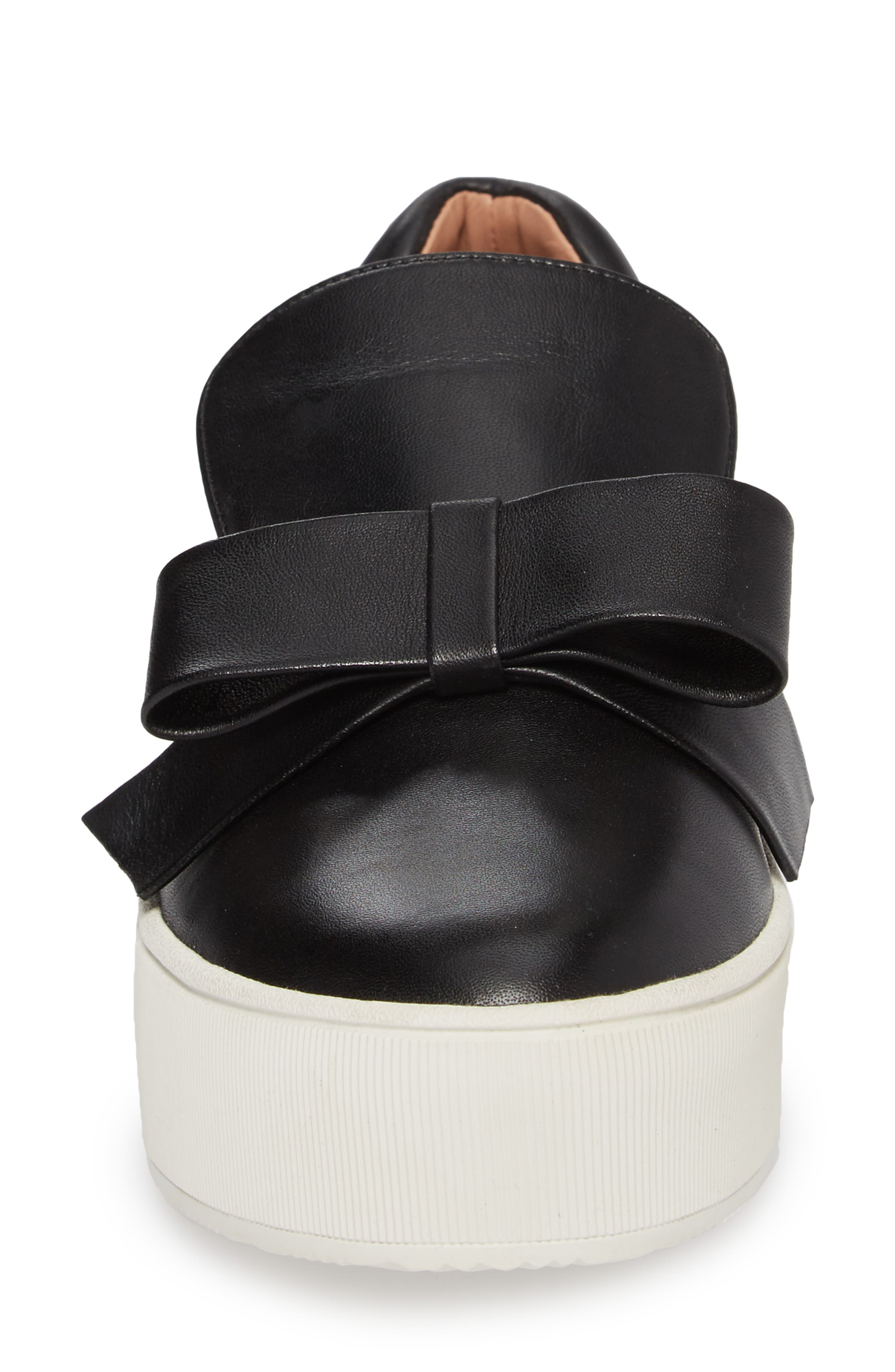 Vania Bow Platform Sneaker,                             Alternate thumbnail 4, color,                             Black Leather