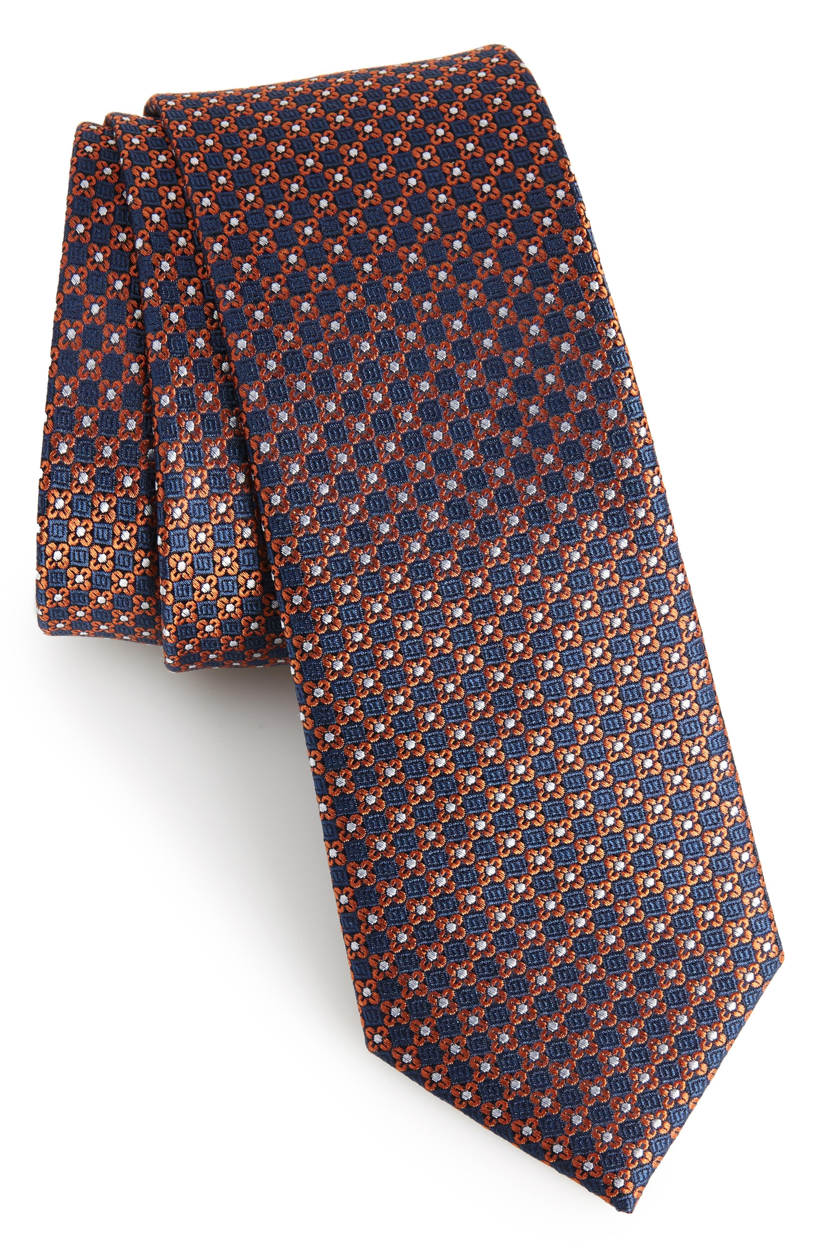 Floral Network Silk Skinny Tie,                             Main thumbnail 1, color,                             Orange