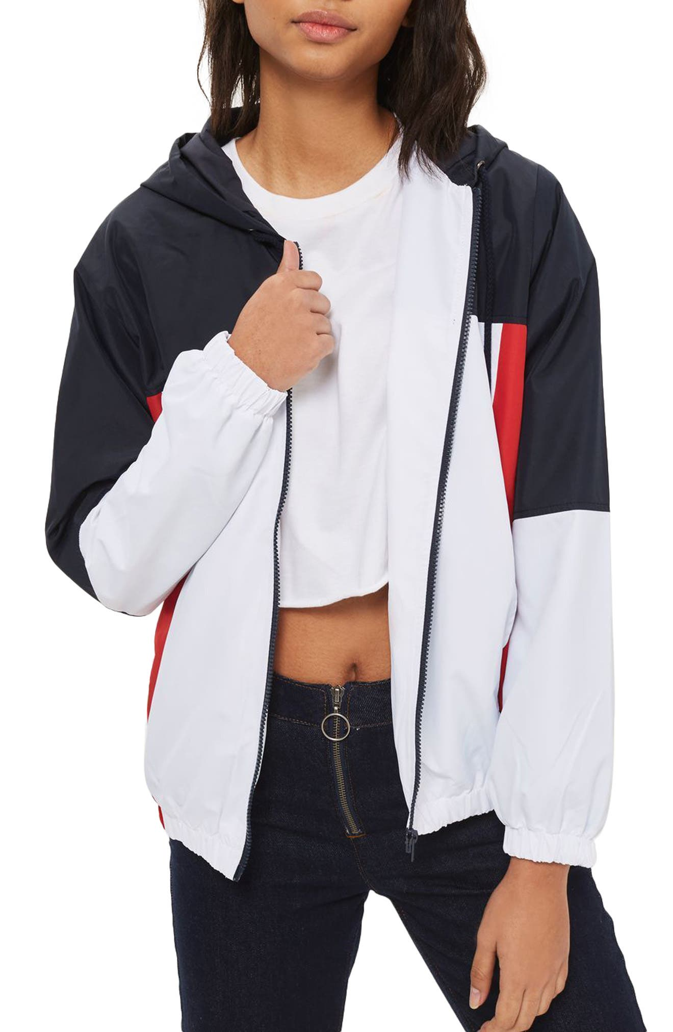 Colorblock Windbreaker Jacket,                         Main,                         color, White Multi