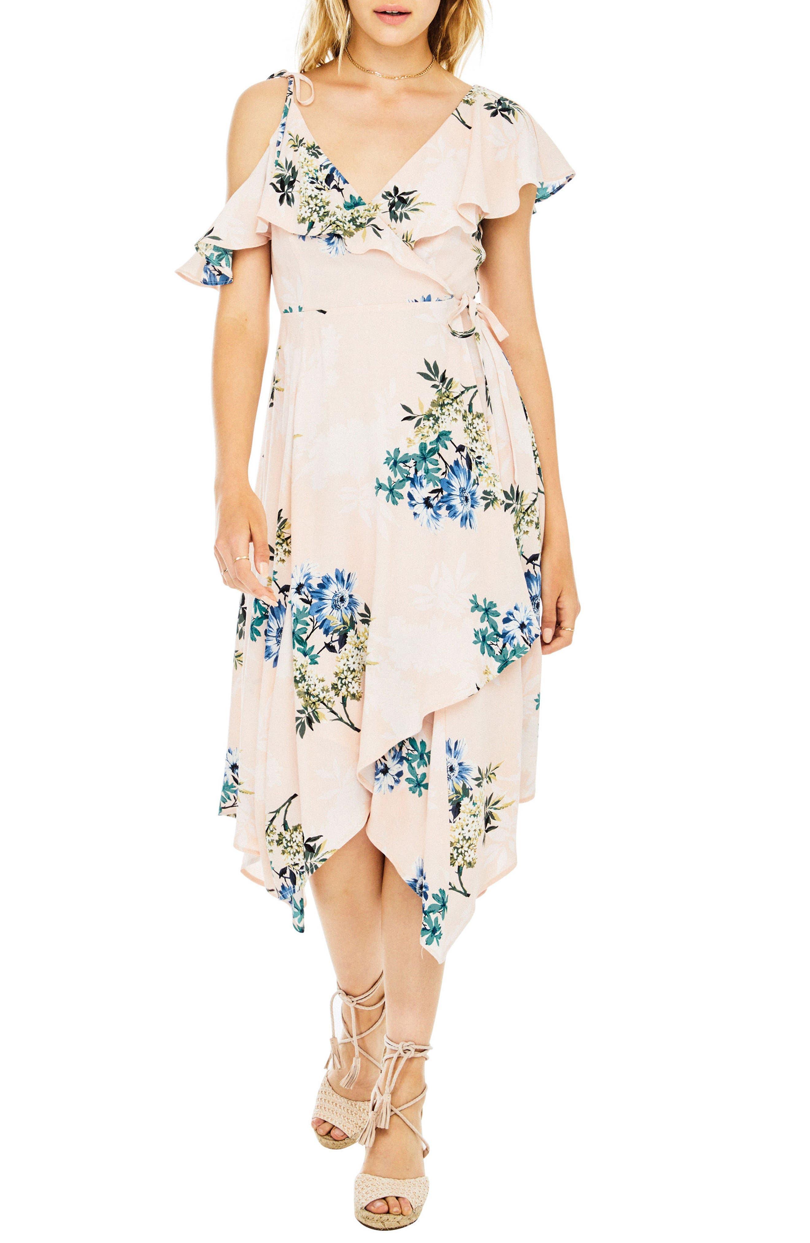 Yessenia Wrap Dress,                         Main,                         color, Blush Multi Floral