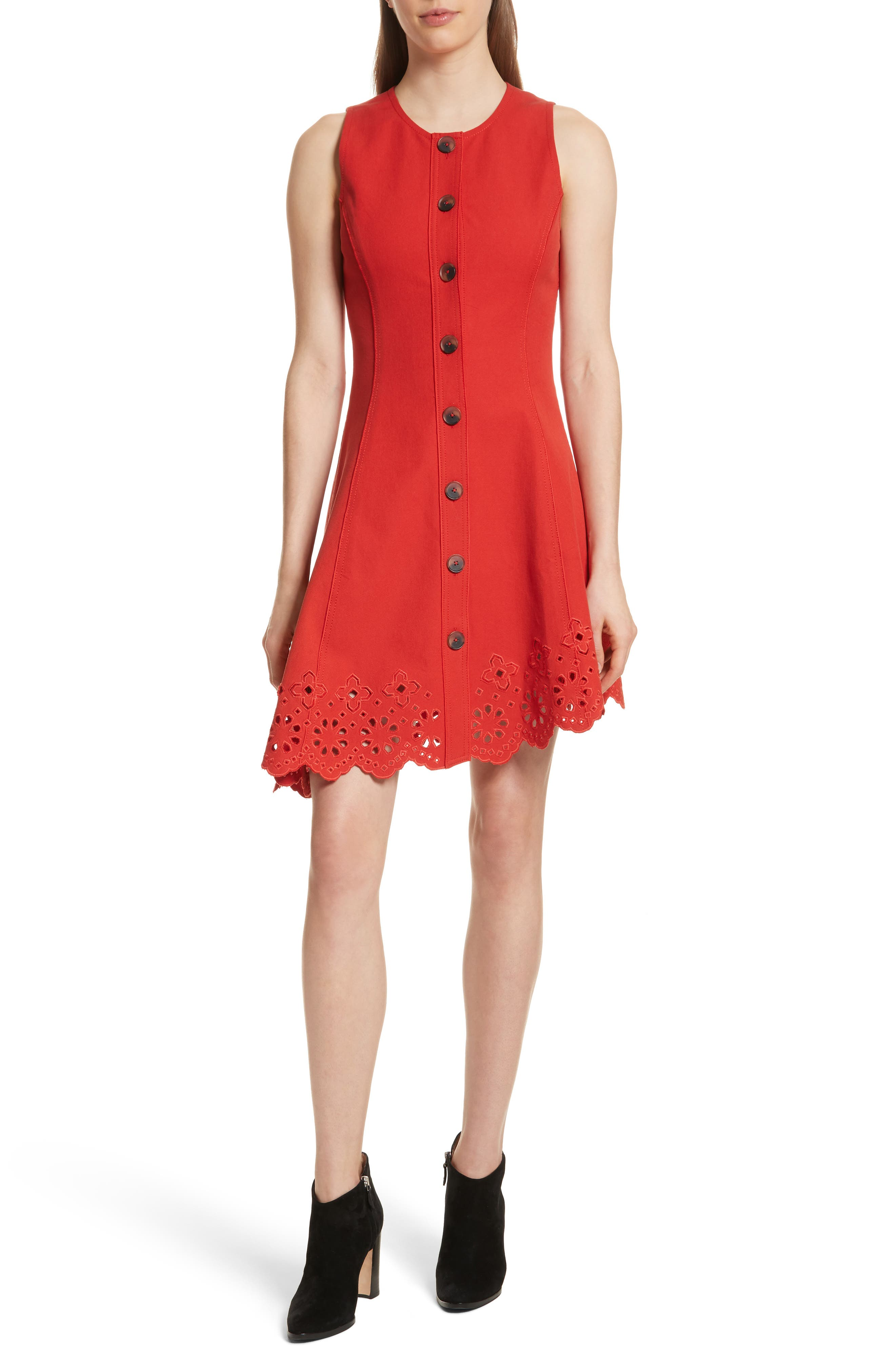 Scallop Hem Dress,                             Main thumbnail 1, color,                             Red Clay