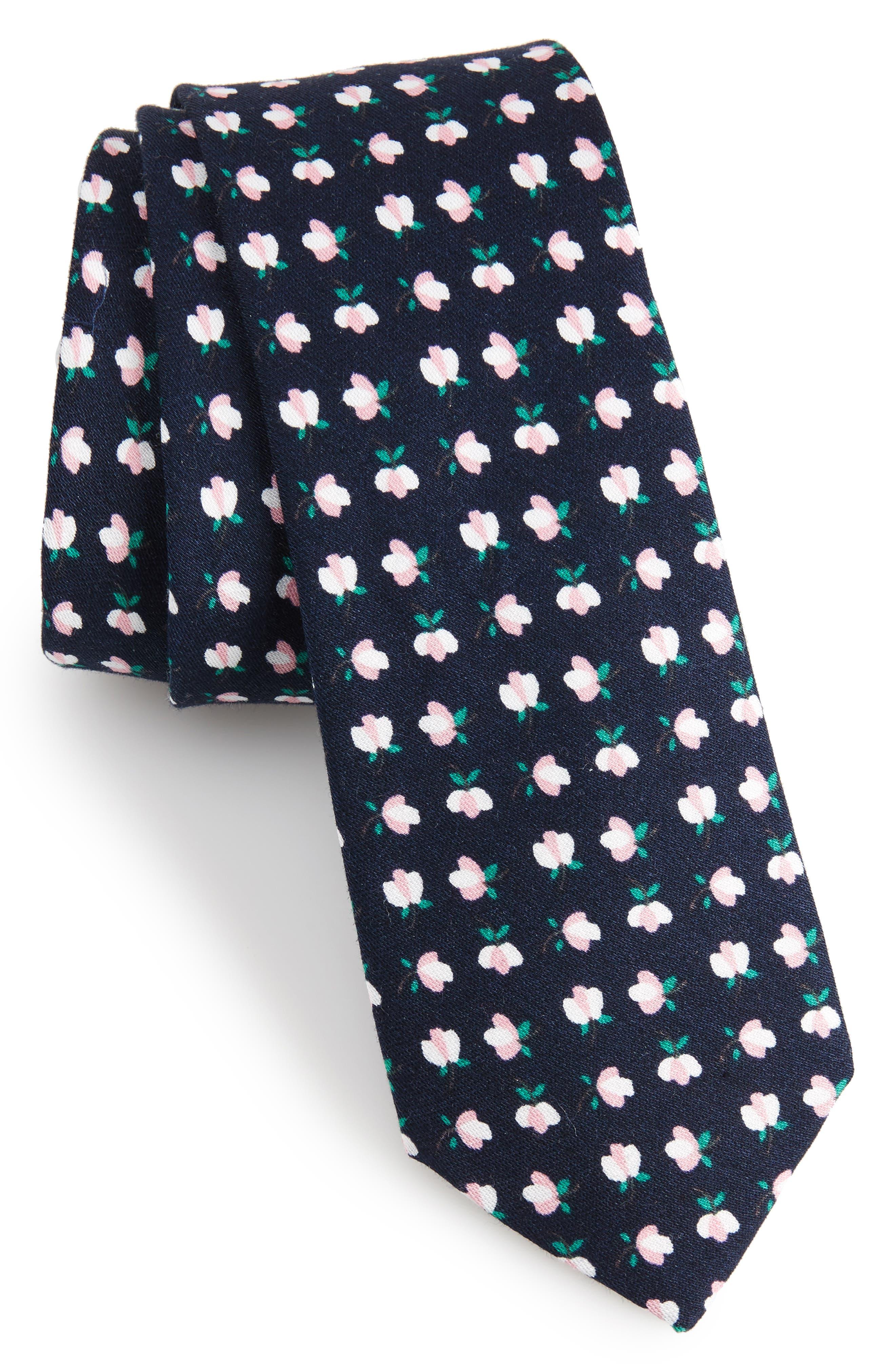Rufford Mini Floral Cotton Tie,                             Main thumbnail 1, color,                             Navy
