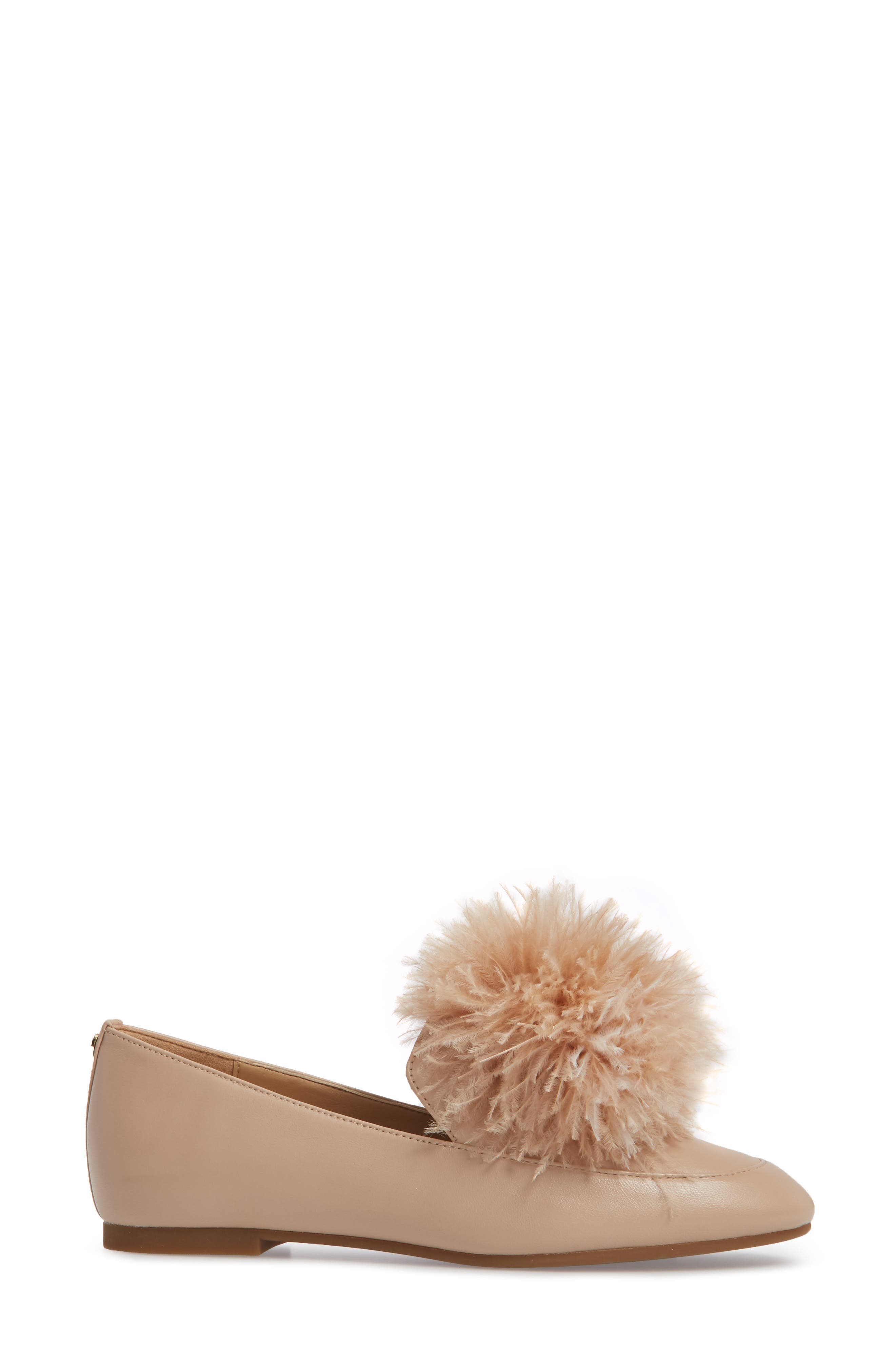 Fara Feather Pom Loafer,                             Alternate thumbnail 3, color,                             Oyster Nappa Leather