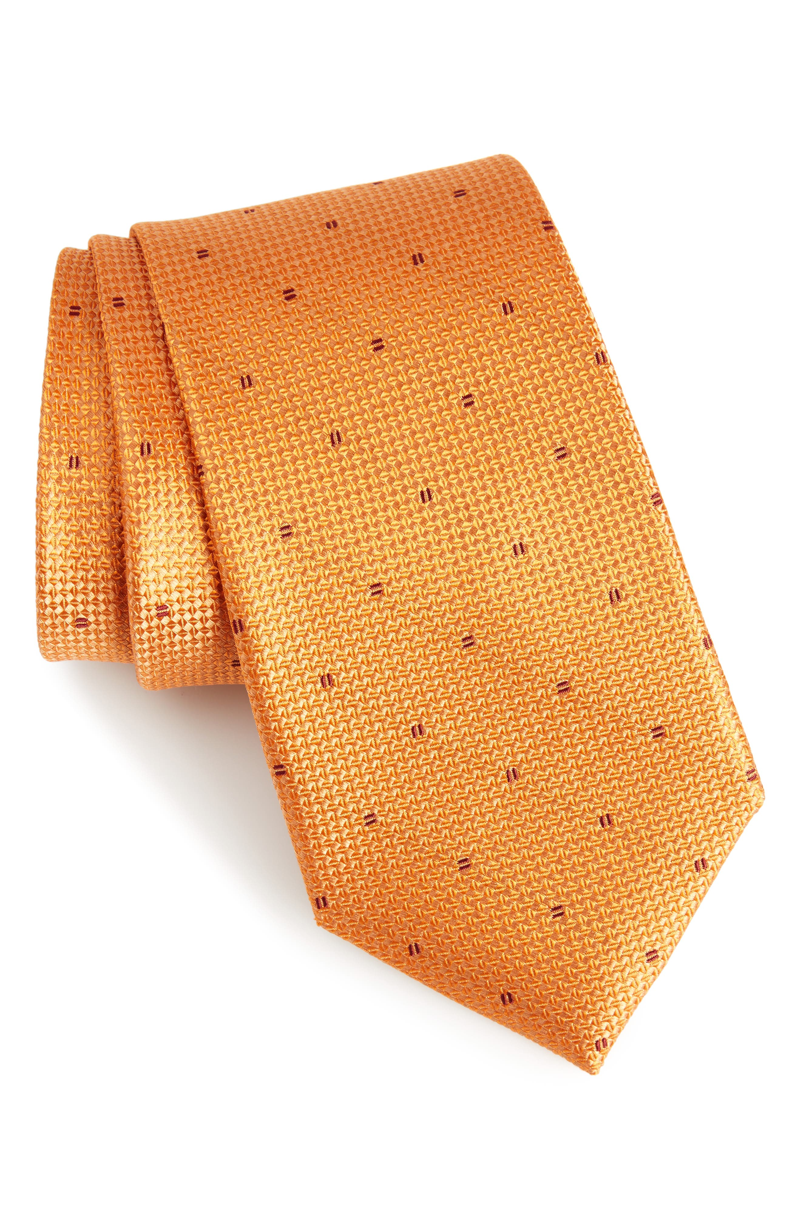 Mulroy Neat Silk Tie,                         Main,                         color, Orange