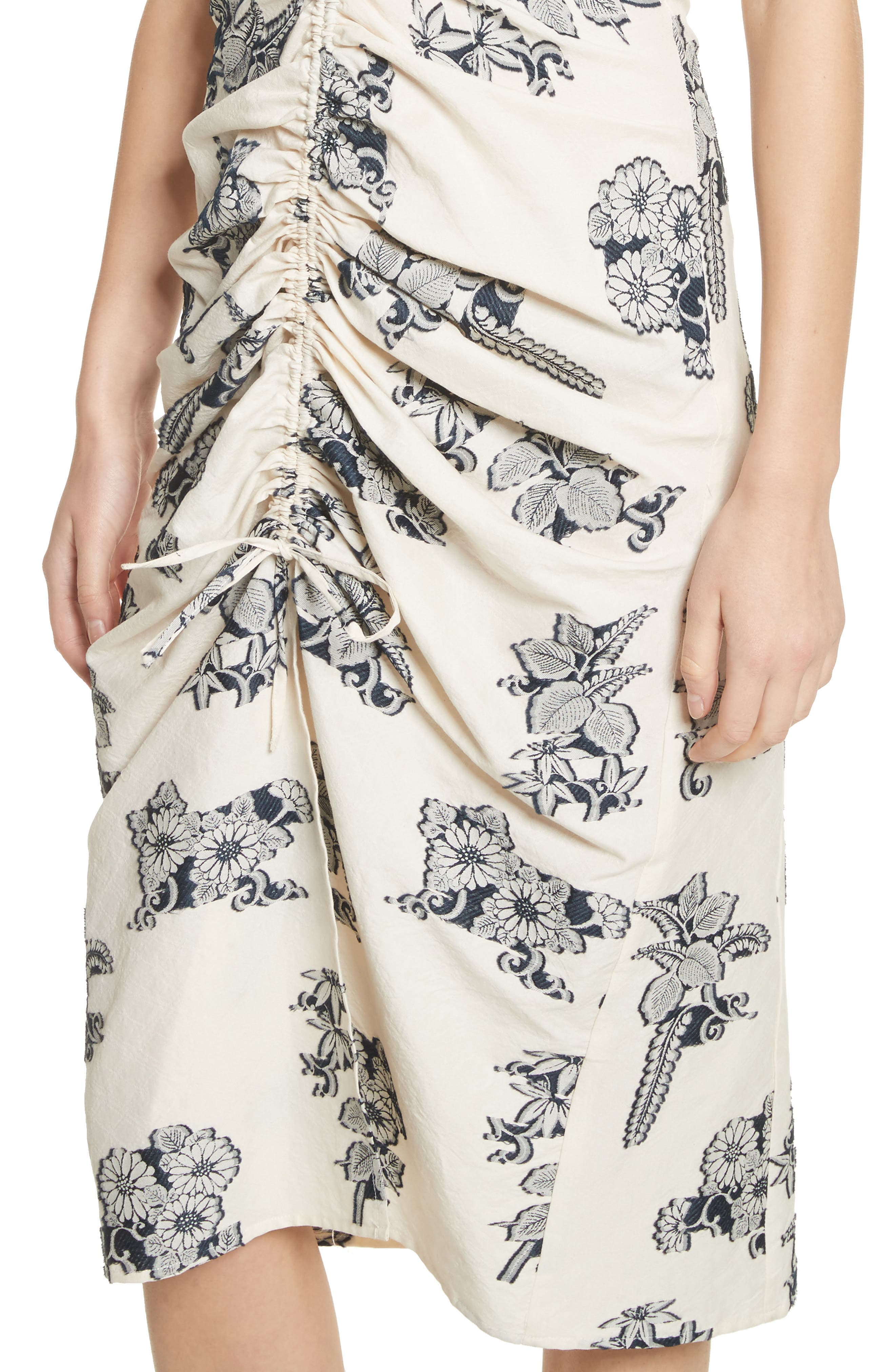 Josephine Floral Print Ruched Dress,                             Alternate thumbnail 4, color,                             Cream