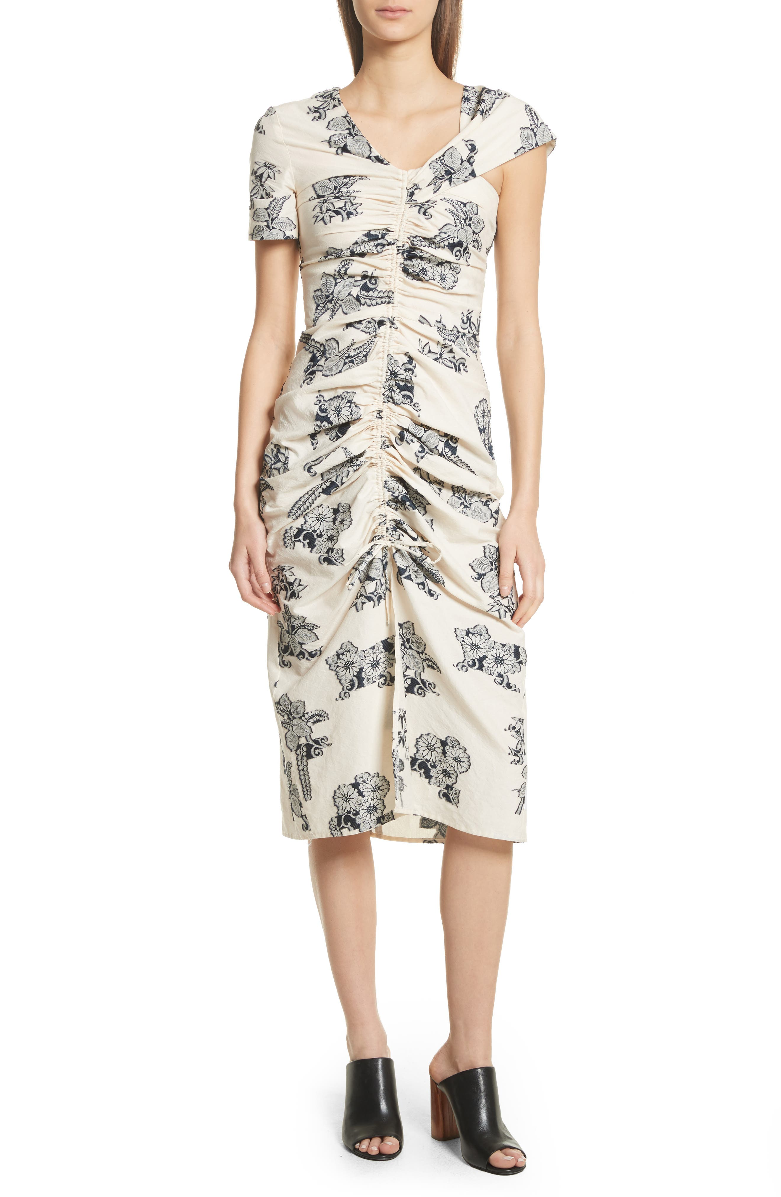Josephine Floral Print Ruched Dress,                             Main thumbnail 1, color,                             Cream