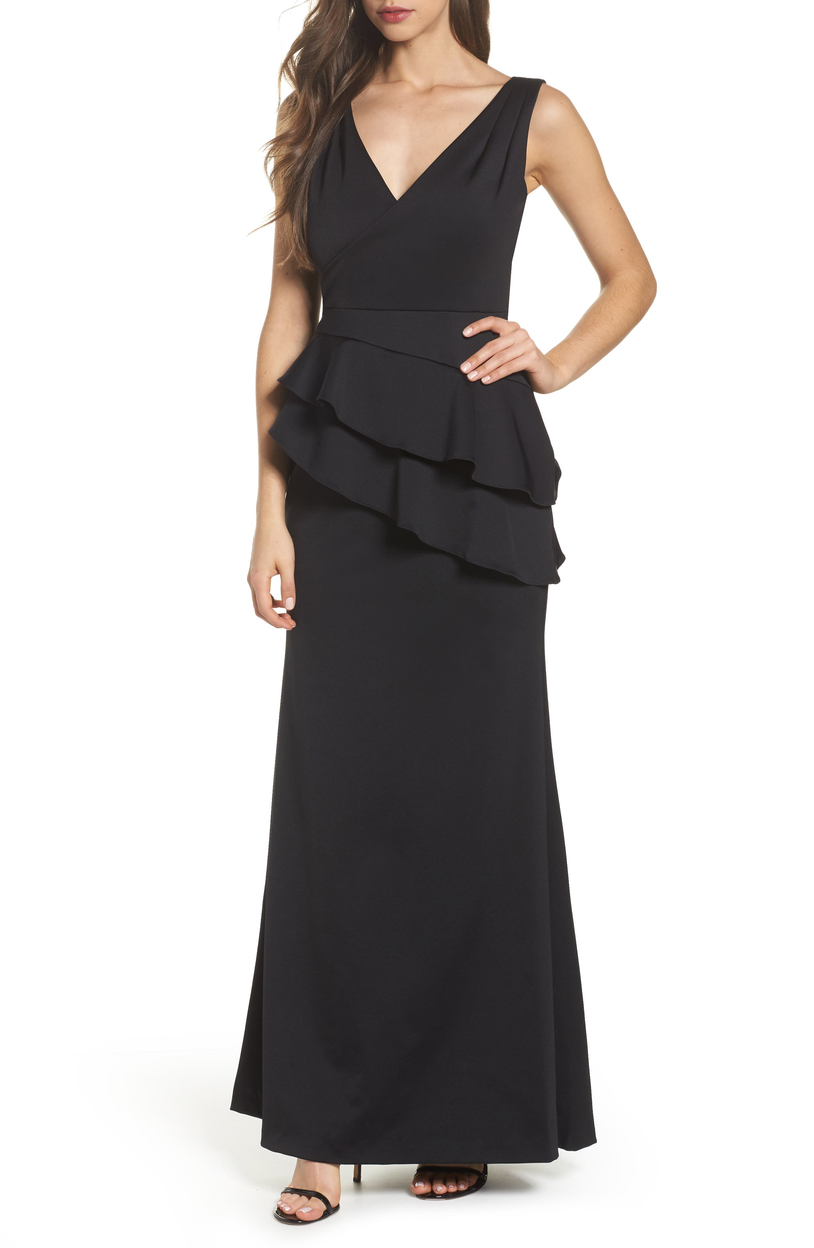 Neoprene Tiered Peplum Gown,                         Main,                         color, Black