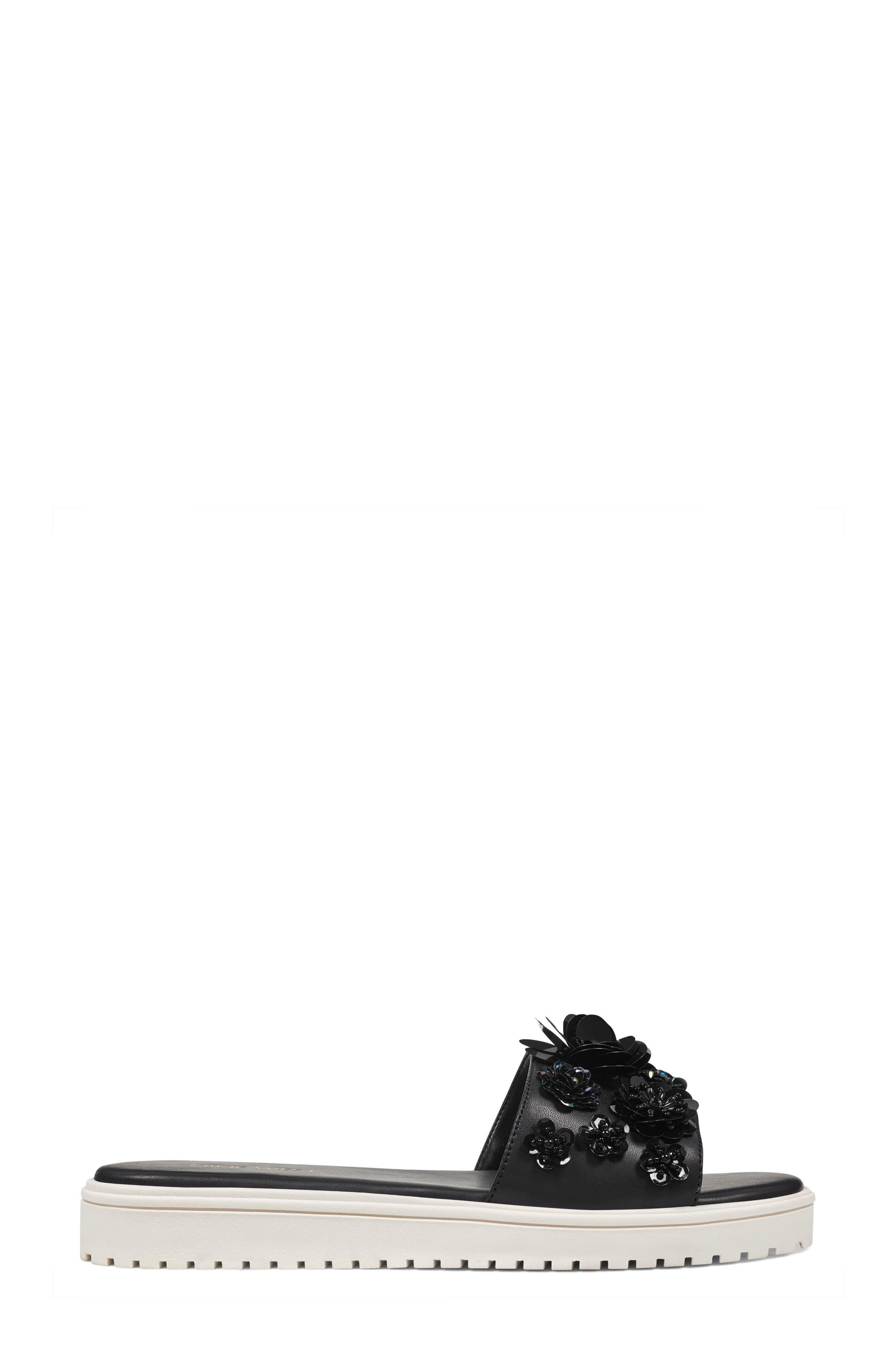 Rainen Flower Embellished Slide Sandal,                             Alternate thumbnail 3, color,                             Black Fabric