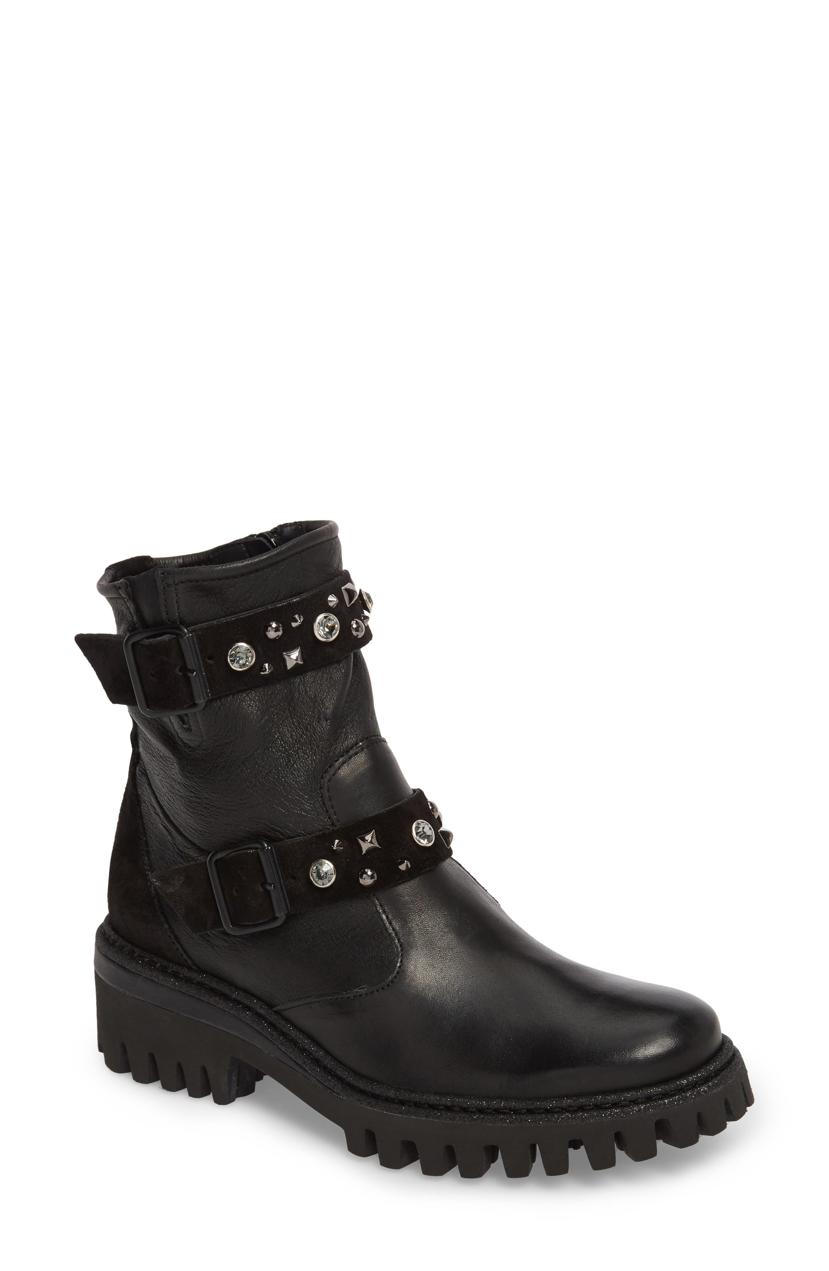 Rivet Moto Boot,                             Main thumbnail 1, color,                             Black Leather