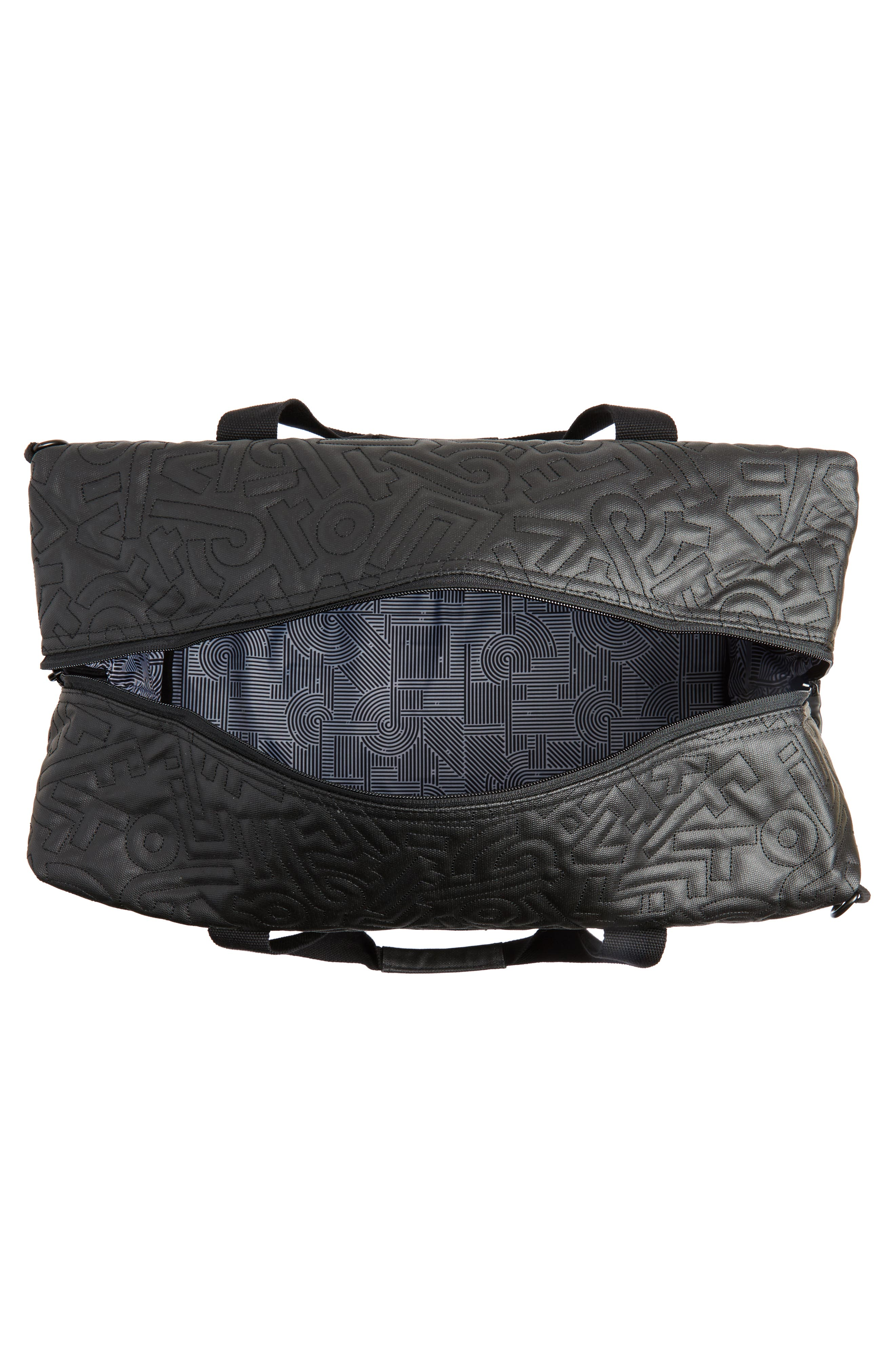 x Aaron De La Cruz Drifter Duffel Bag,                             Alternate thumbnail 4, color,                             Black Quilt