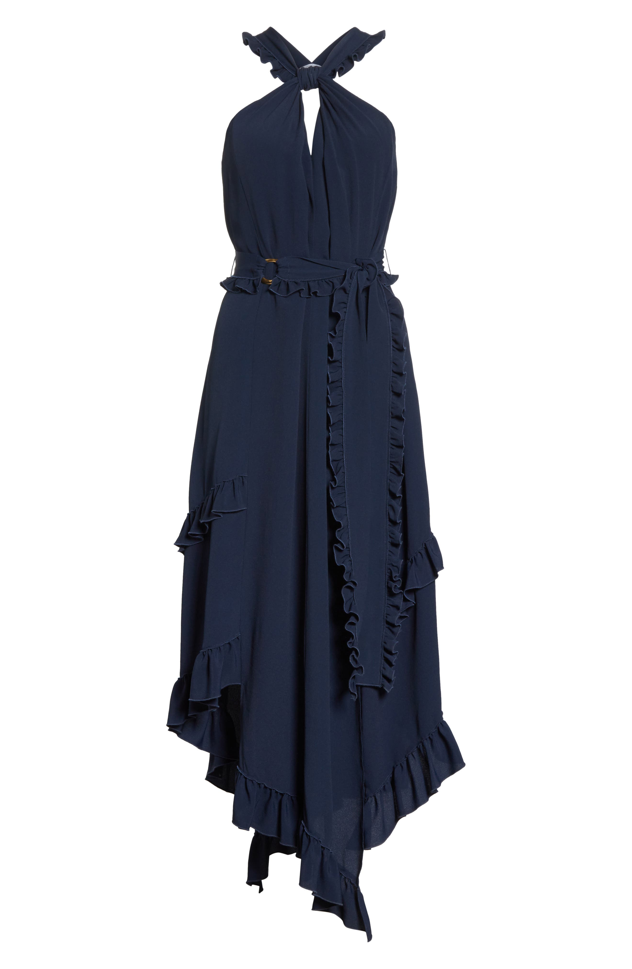Ruffled Asymmetrical Dress,                             Alternate thumbnail 6, color,                             Midnight