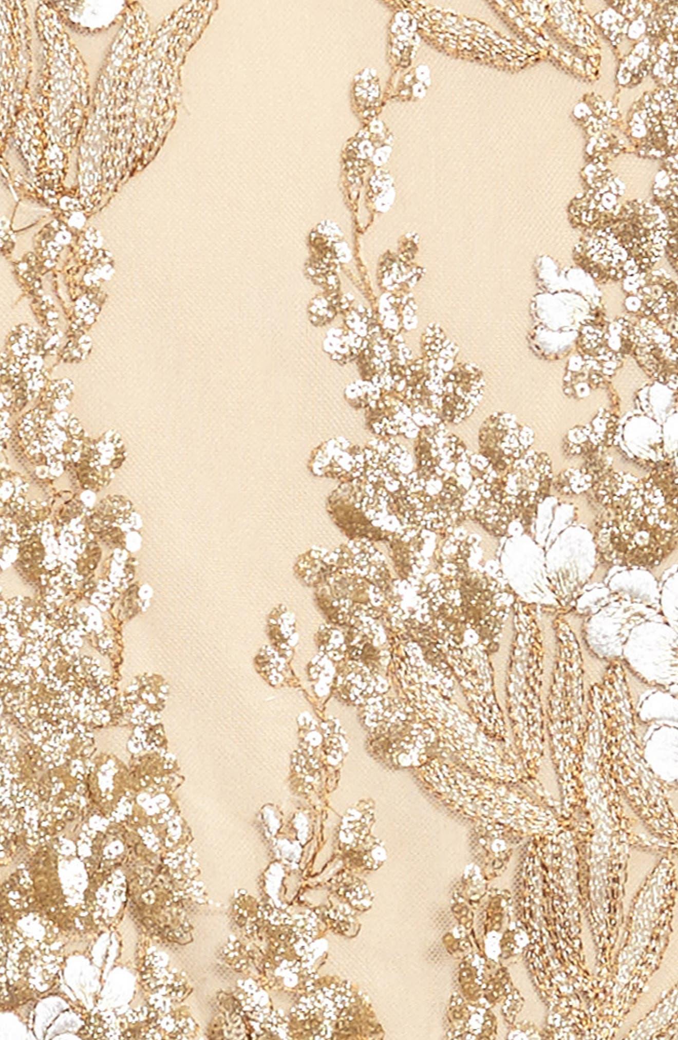 Grace Sequin Halter Dress,                             Alternate thumbnail 3, color,                             Gold