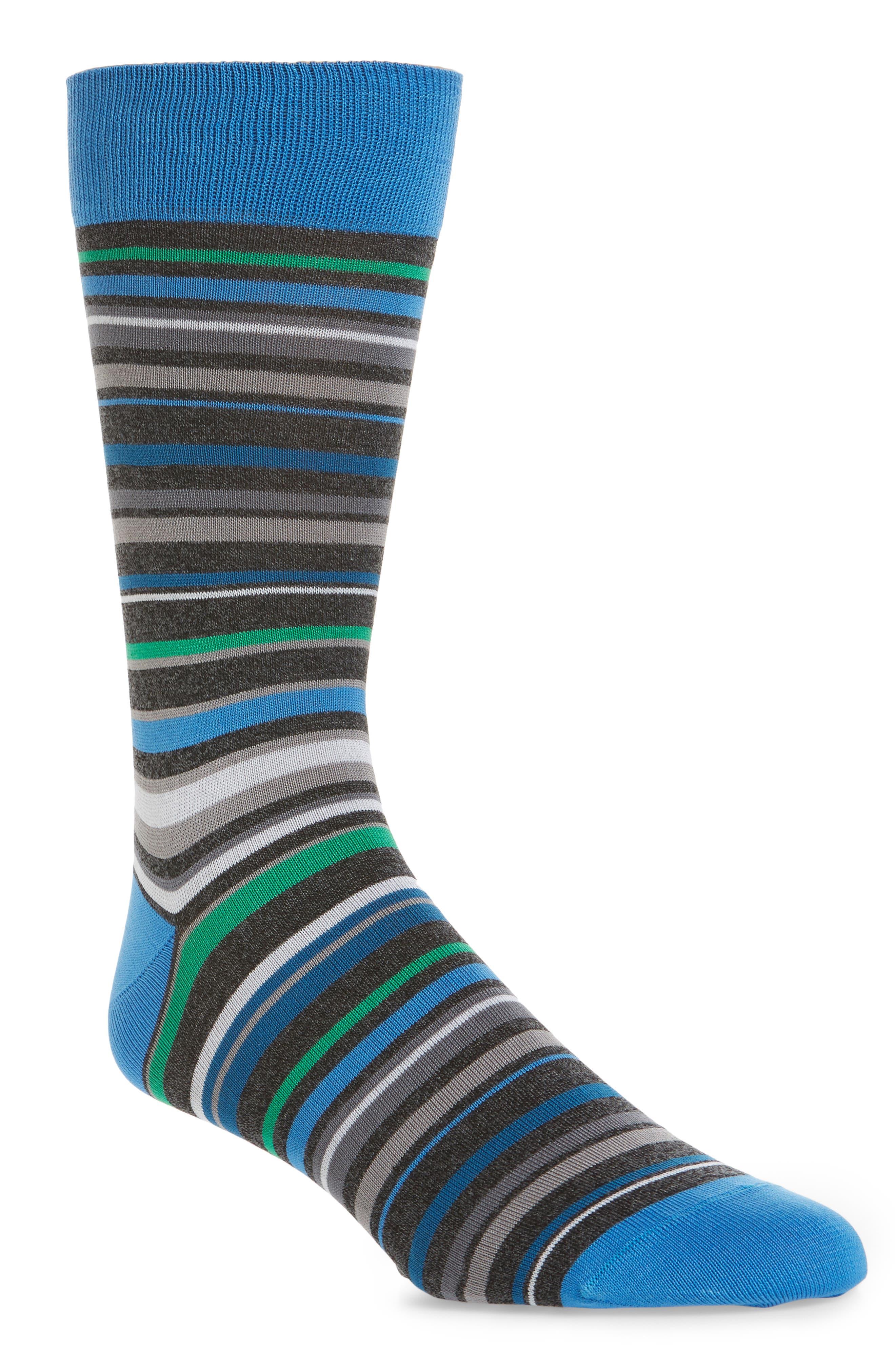 Multi Stripe Crew Socks,                             Main thumbnail 1, color,                             Cement