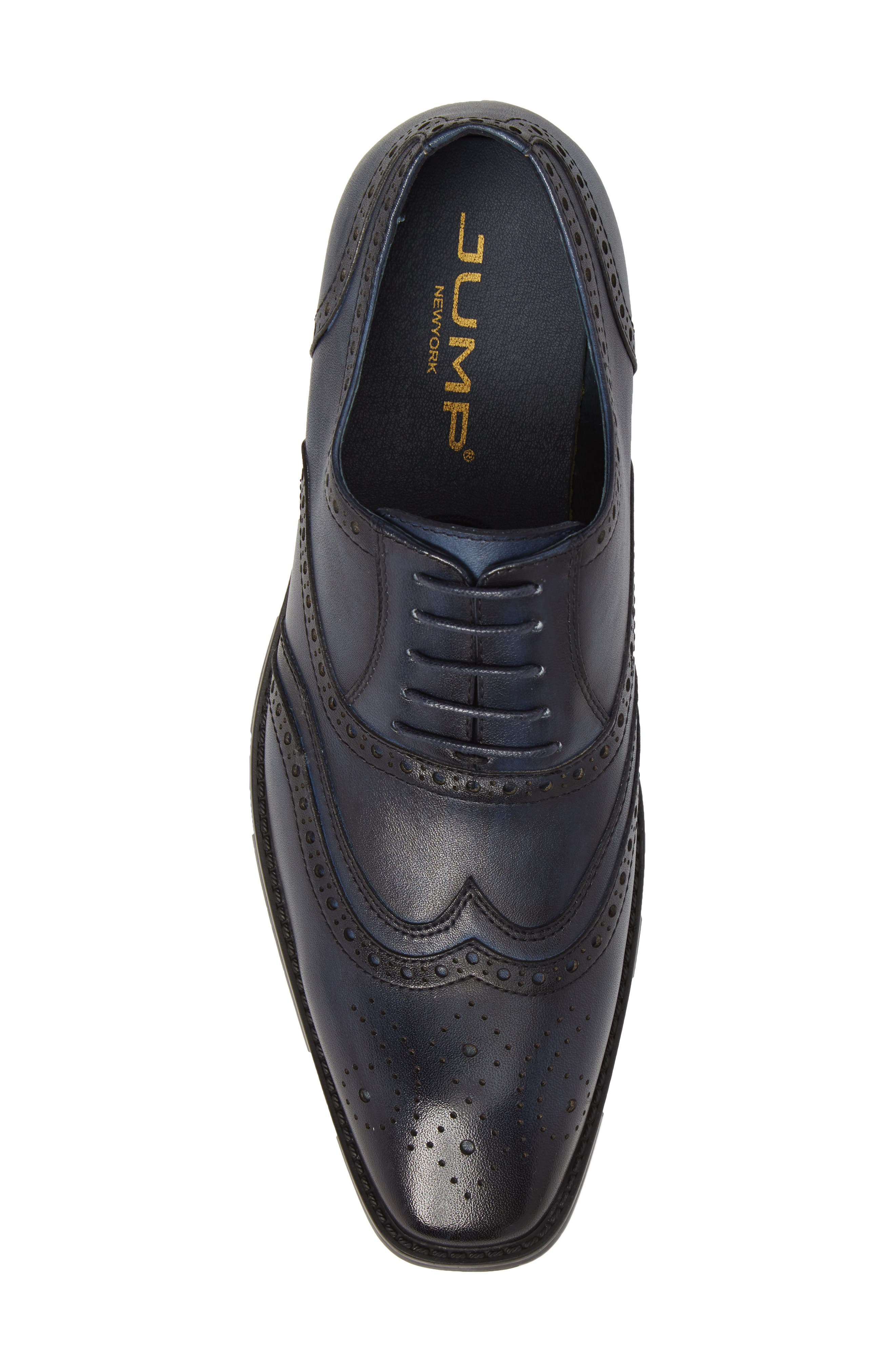 Lindsey Wingtip,                             Alternate thumbnail 5, color,                             Navy Leather