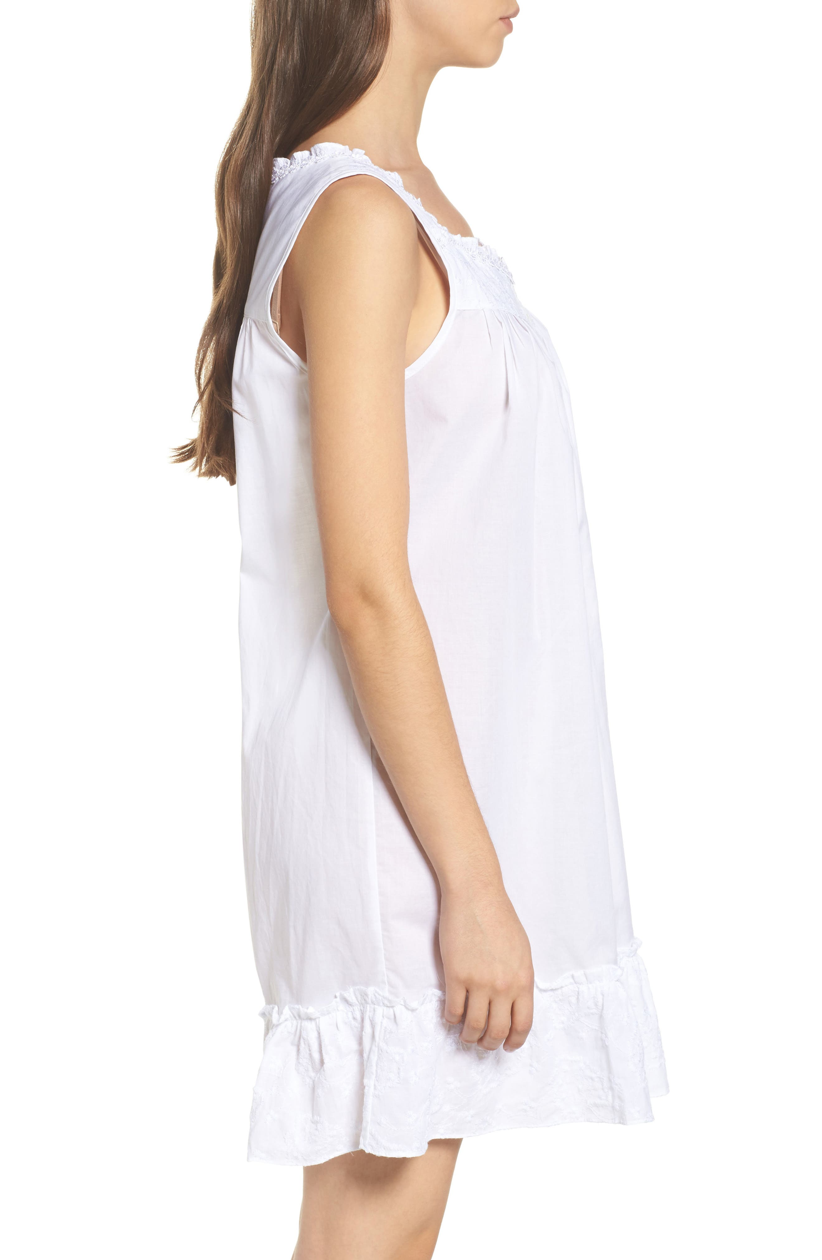 Embroidered Cotton Nightgown,                             Alternate thumbnail 3, color,                             White Floral Embroidery