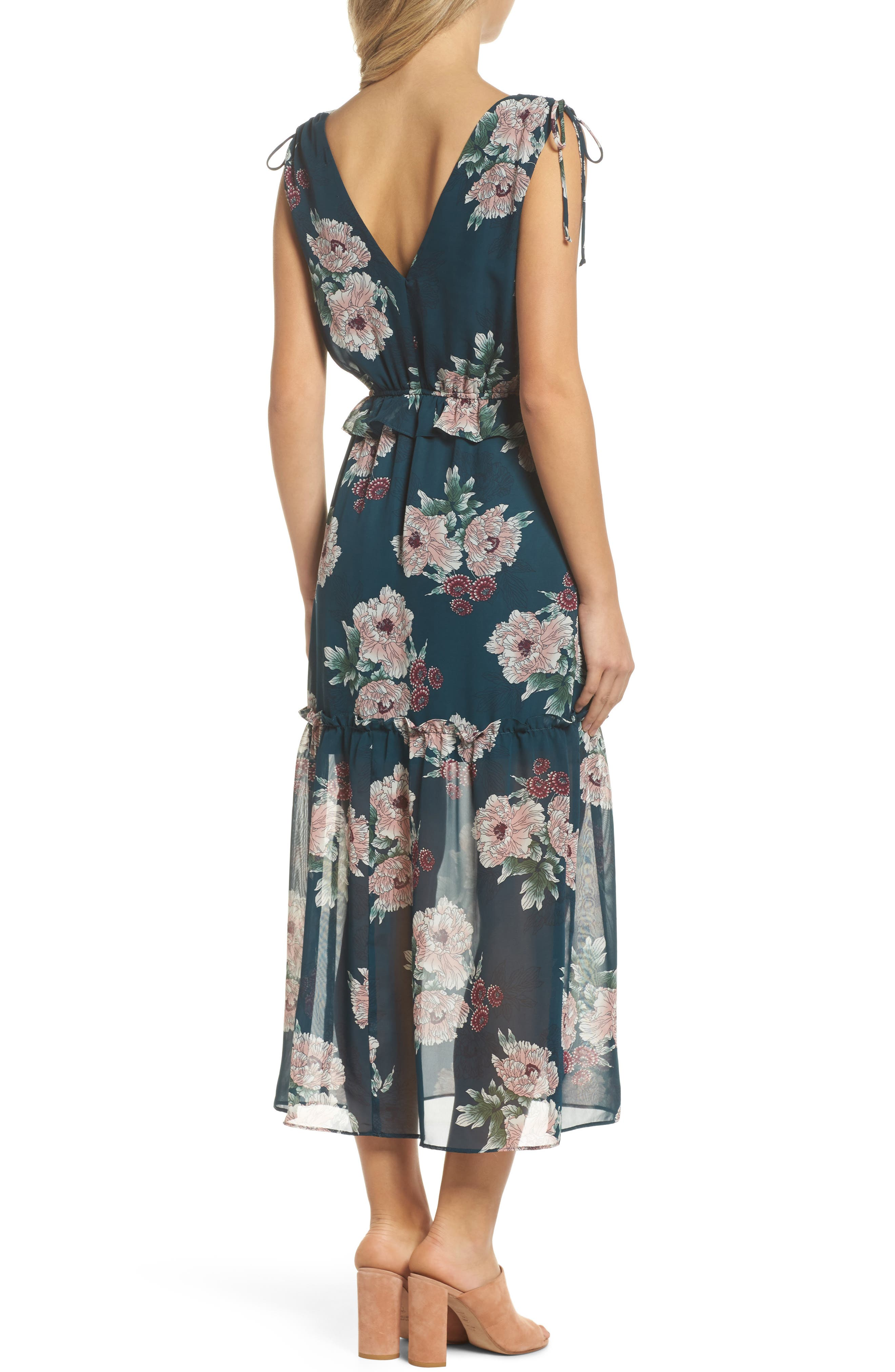Floral Midi Dress,                             Alternate thumbnail 2, color,                             Pine