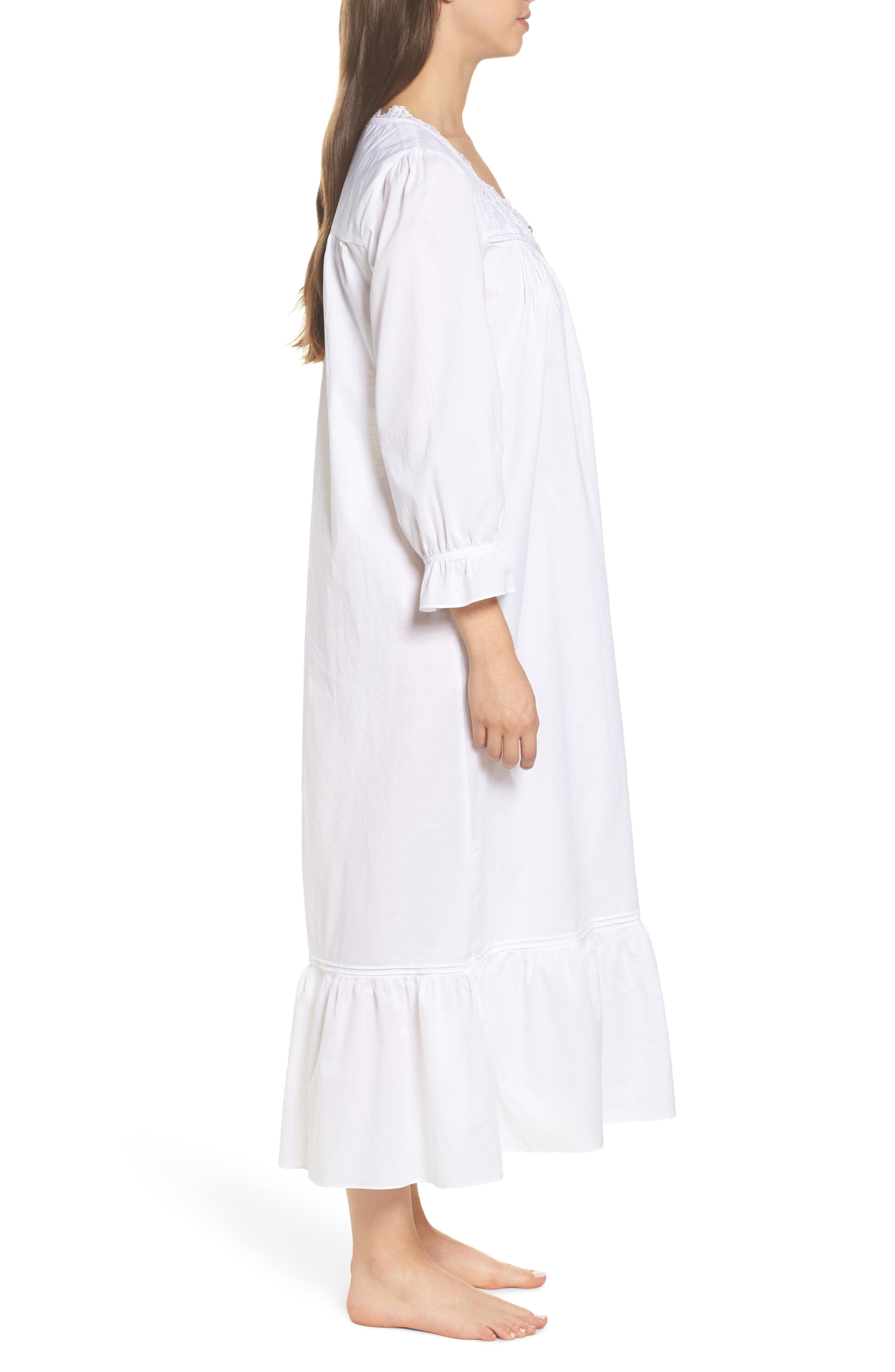 Button Front Cotton Nightgown,                             Alternate thumbnail 3, color,                             Solid White