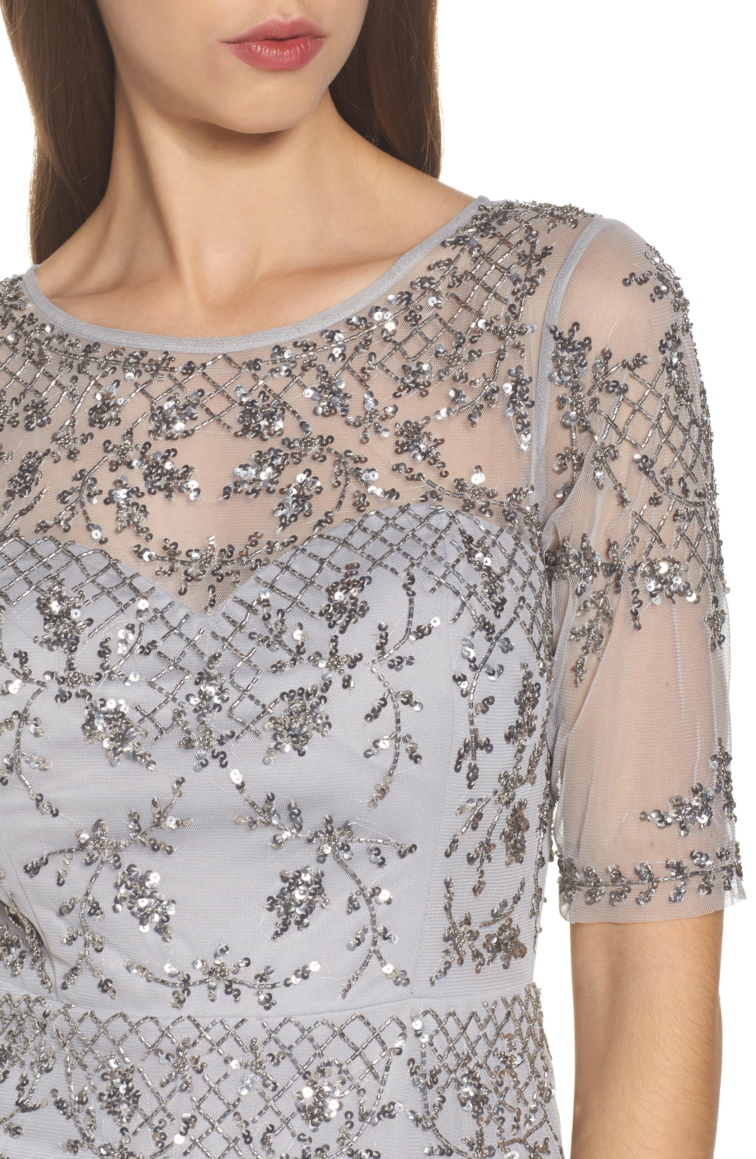 Embellished Fit & Flare Dress,                             Alternate thumbnail 4, color,                             Bridal Silver