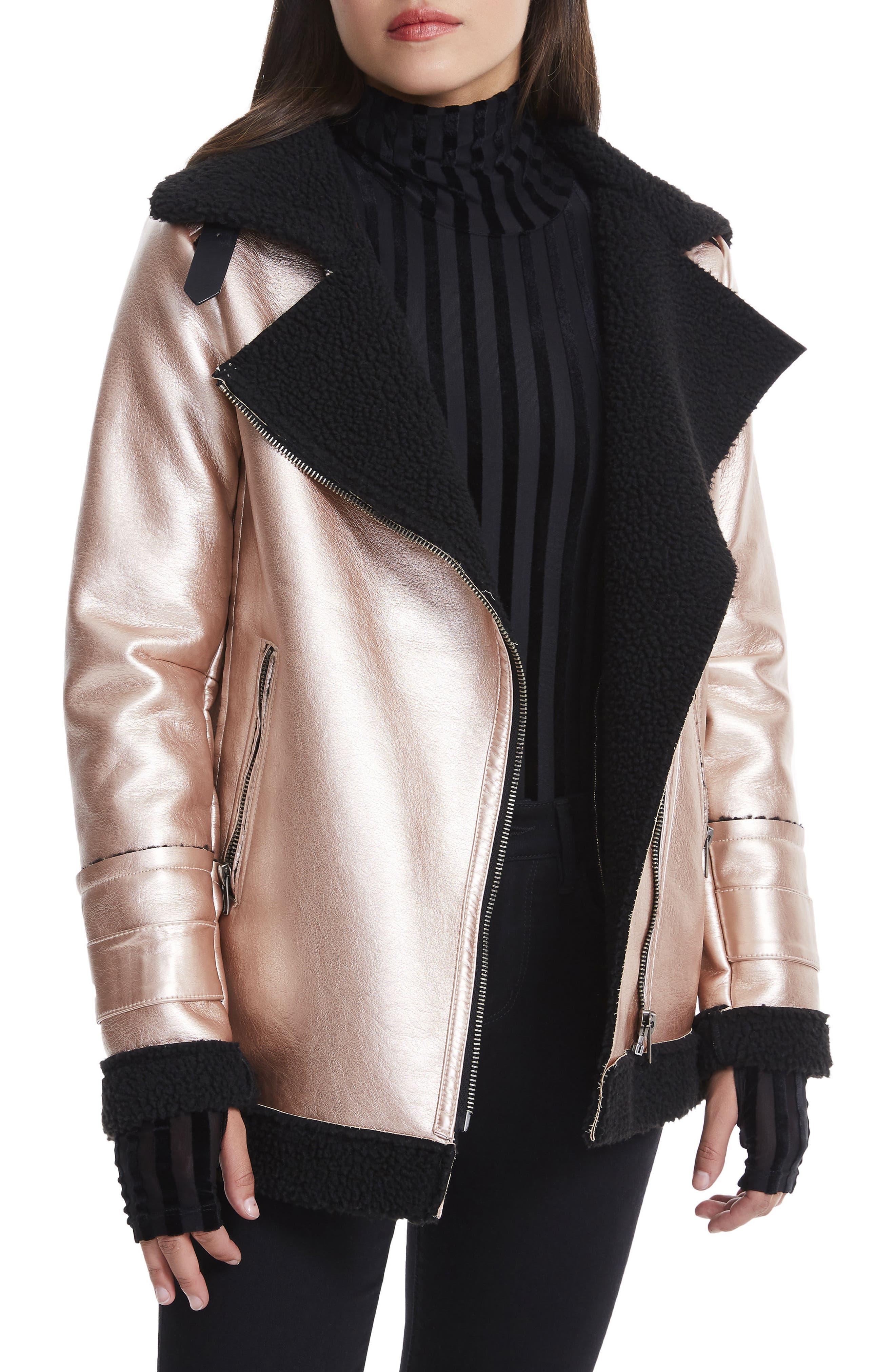 Ophelia Oversize Faux Shearling Jacket,                         Main,                         color, Metallic