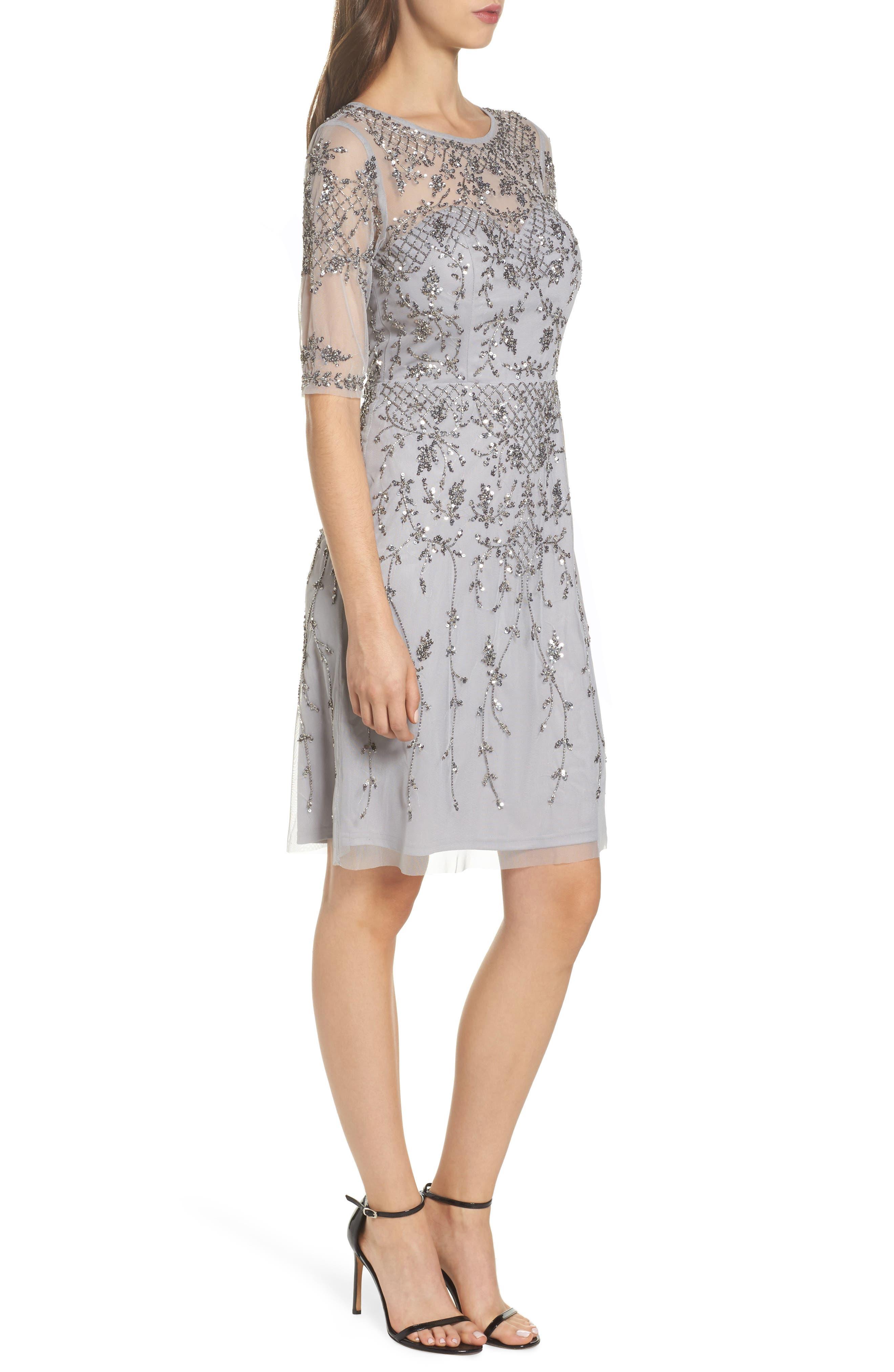 Embellished Fit & Flare Dress,                             Alternate thumbnail 3, color,                             Bridal Silver