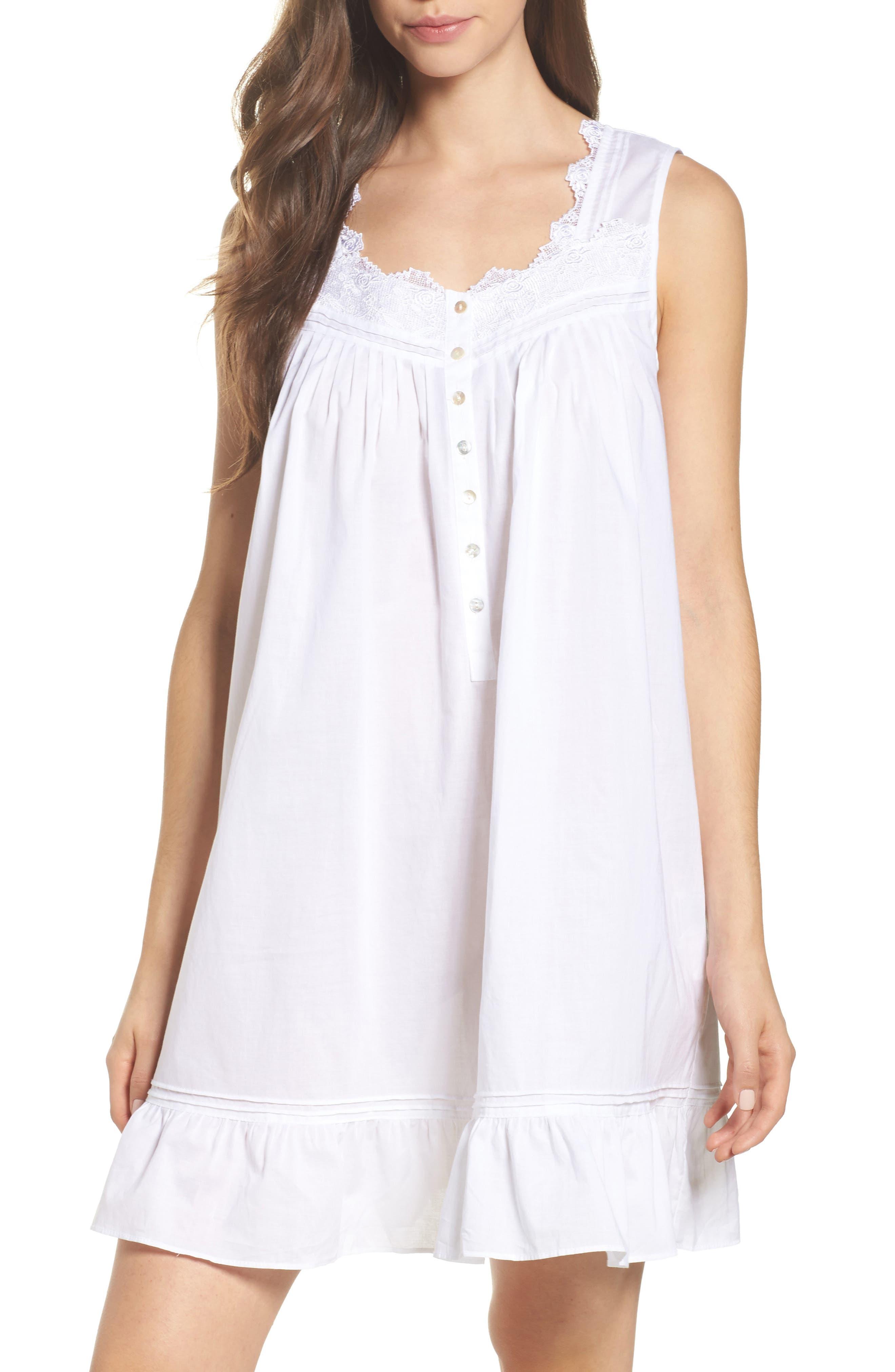 Cotton Chemise,                         Main,                         color, Solid White