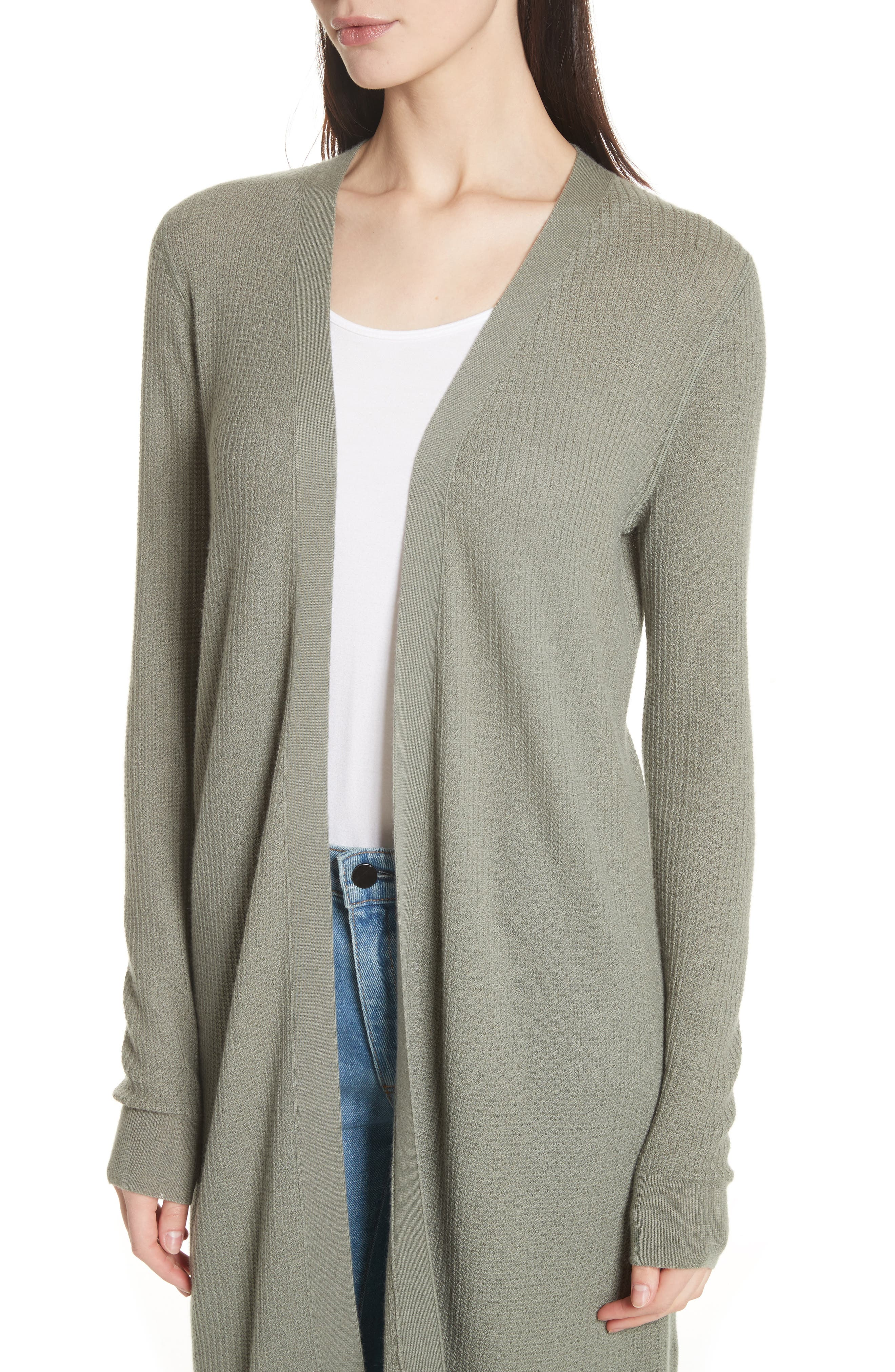 Torina Long Cashmere Cardigan,                             Alternate thumbnail 4, color,                             Faded Army