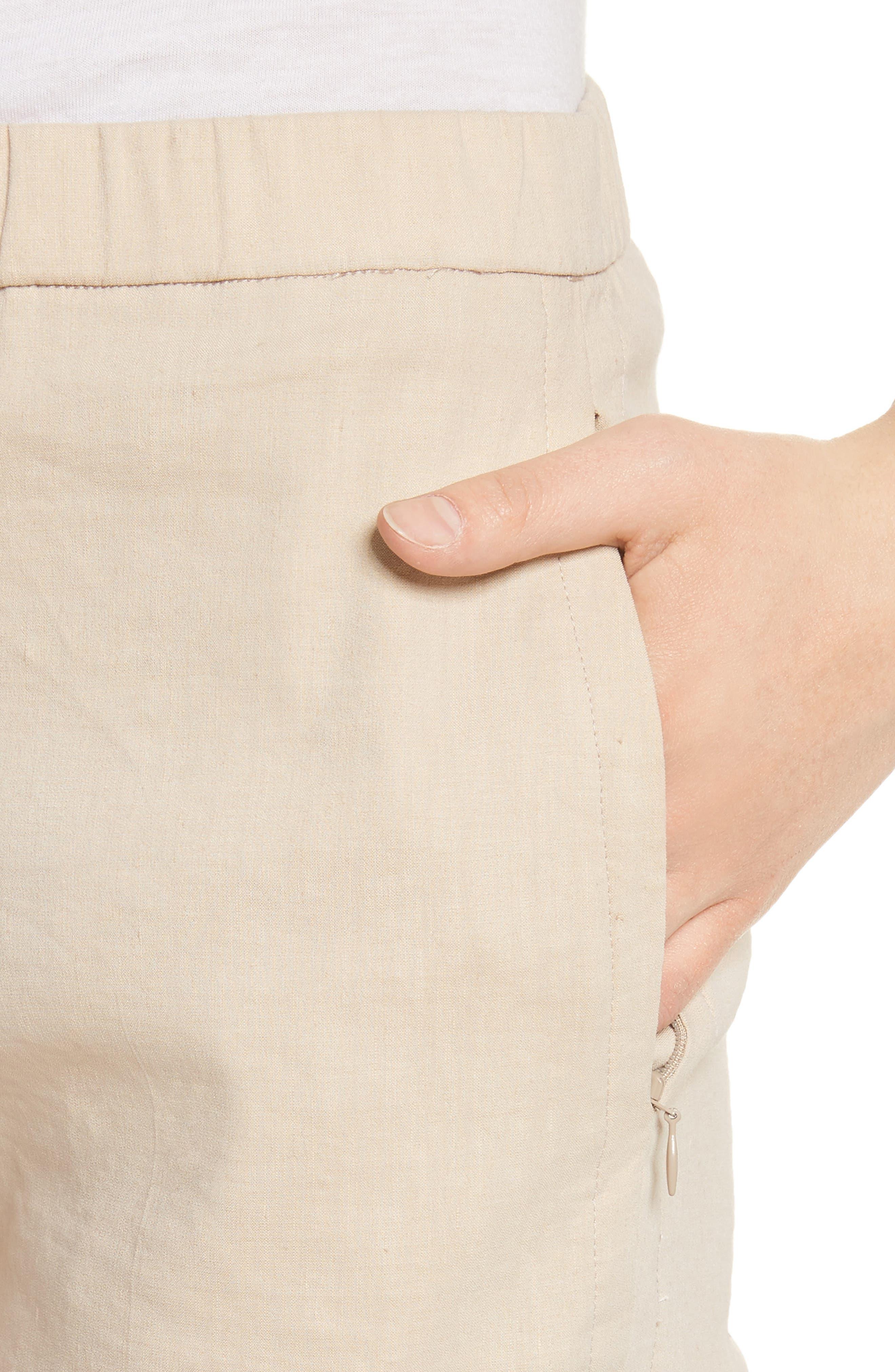Pull-On Linen Blend Pants,                             Alternate thumbnail 5, color,                             Light Wheat