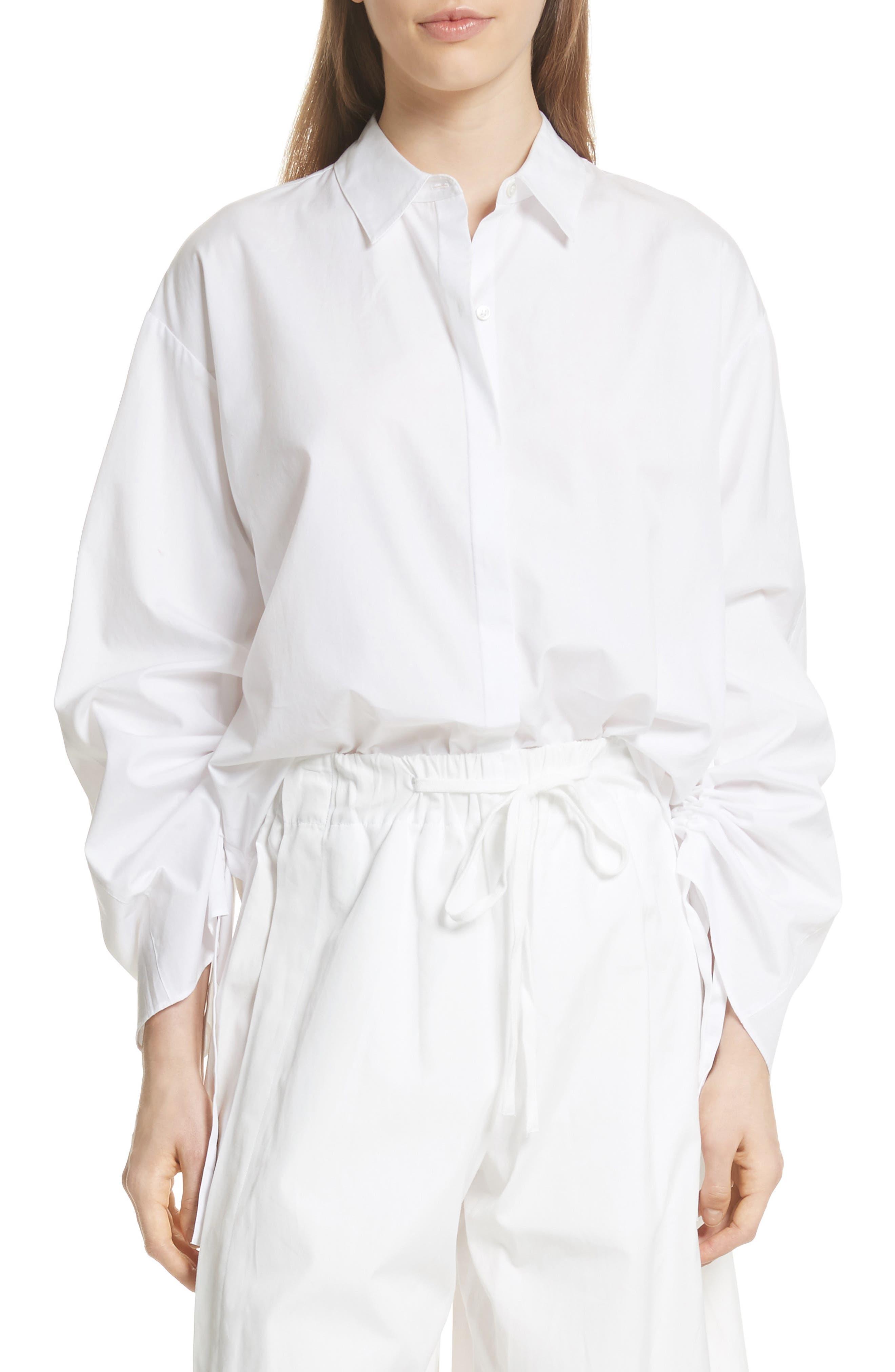 Cinch Sleeve Top,                             Main thumbnail 1, color,                             Optic White