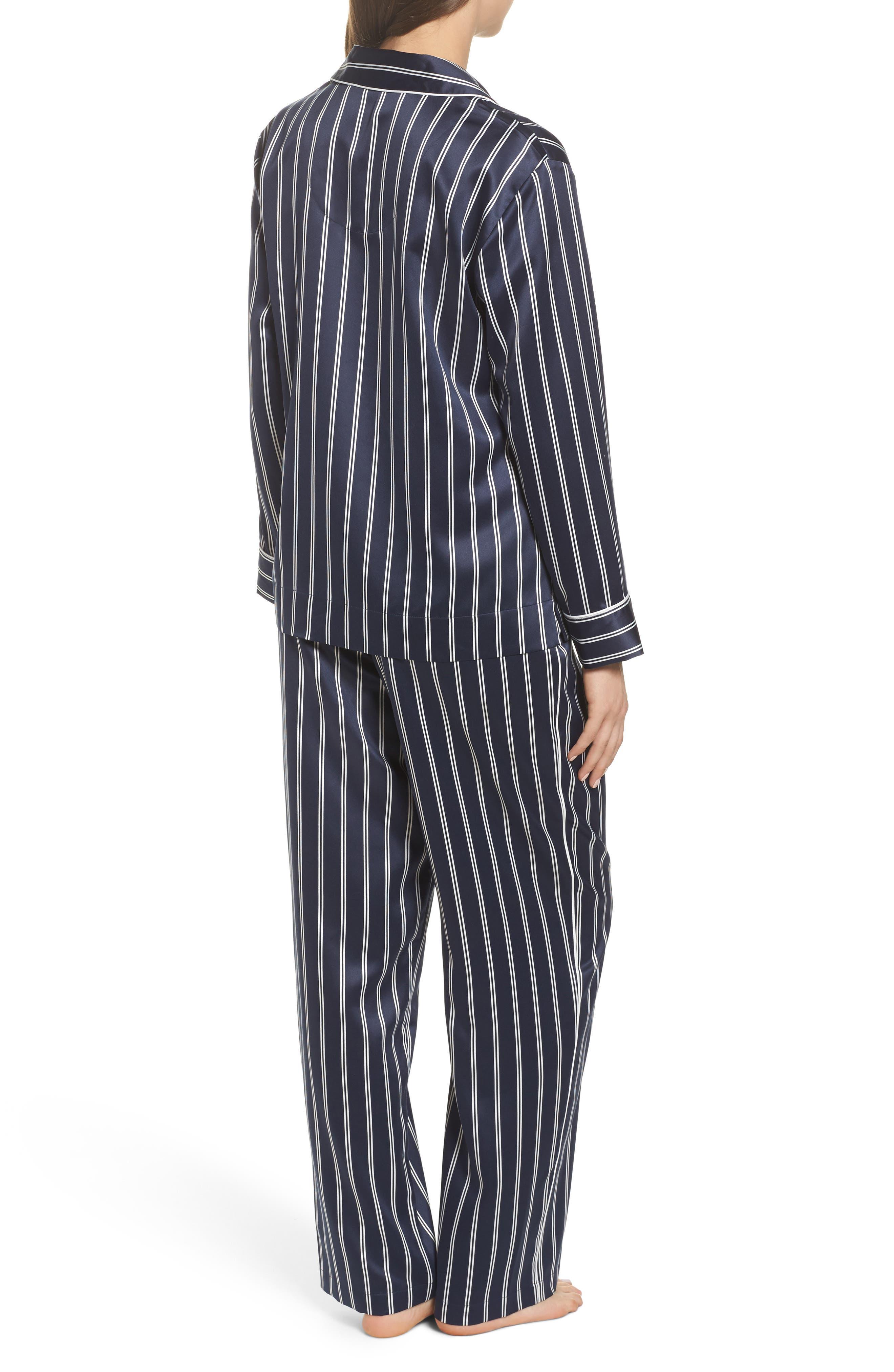 Satin Pajamas,                             Alternate thumbnail 2, color,                             Navy Stripe