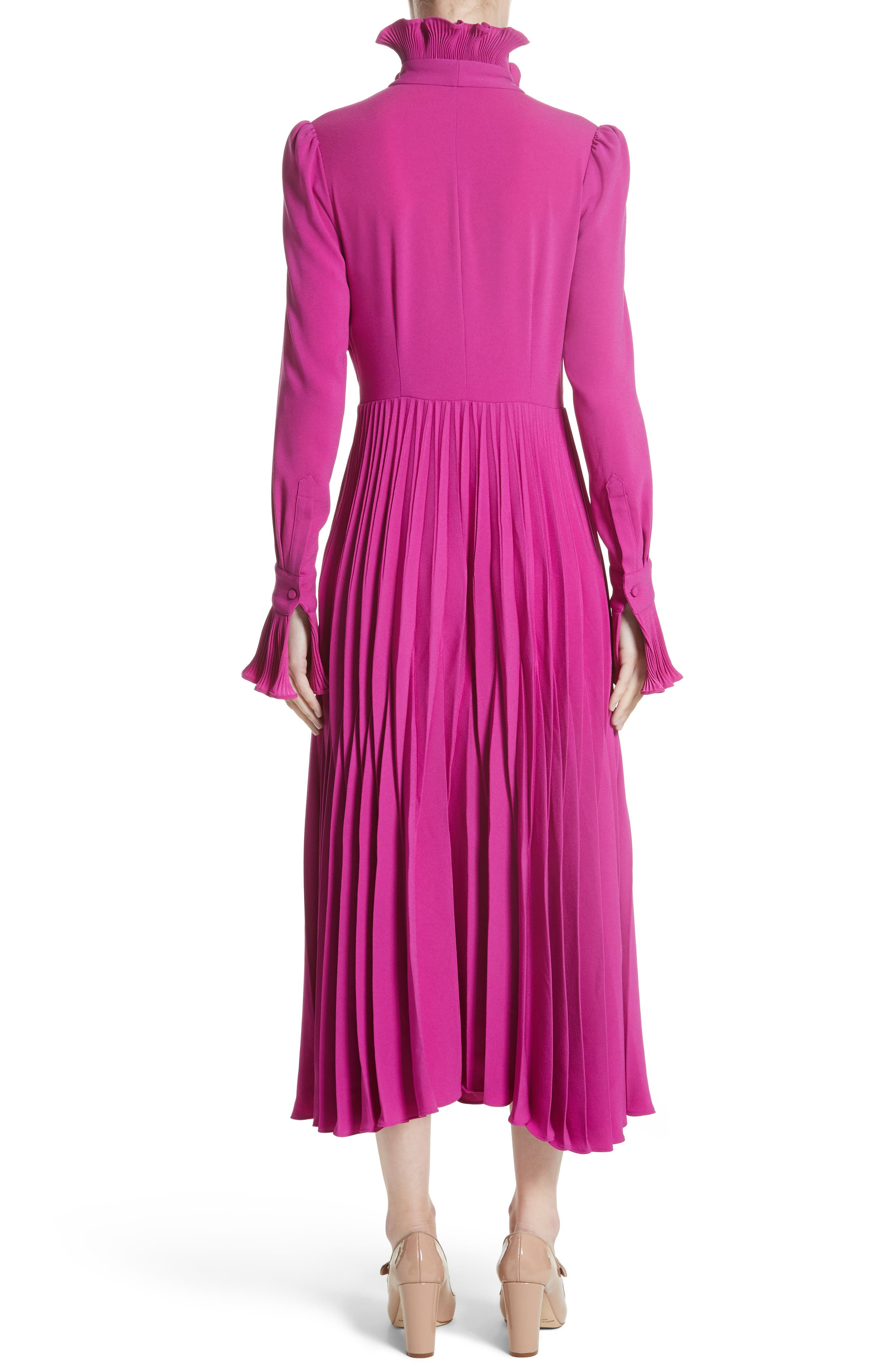 Ruffle & Pleated Midi Dress,                             Alternate thumbnail 3, color,                             Magenta