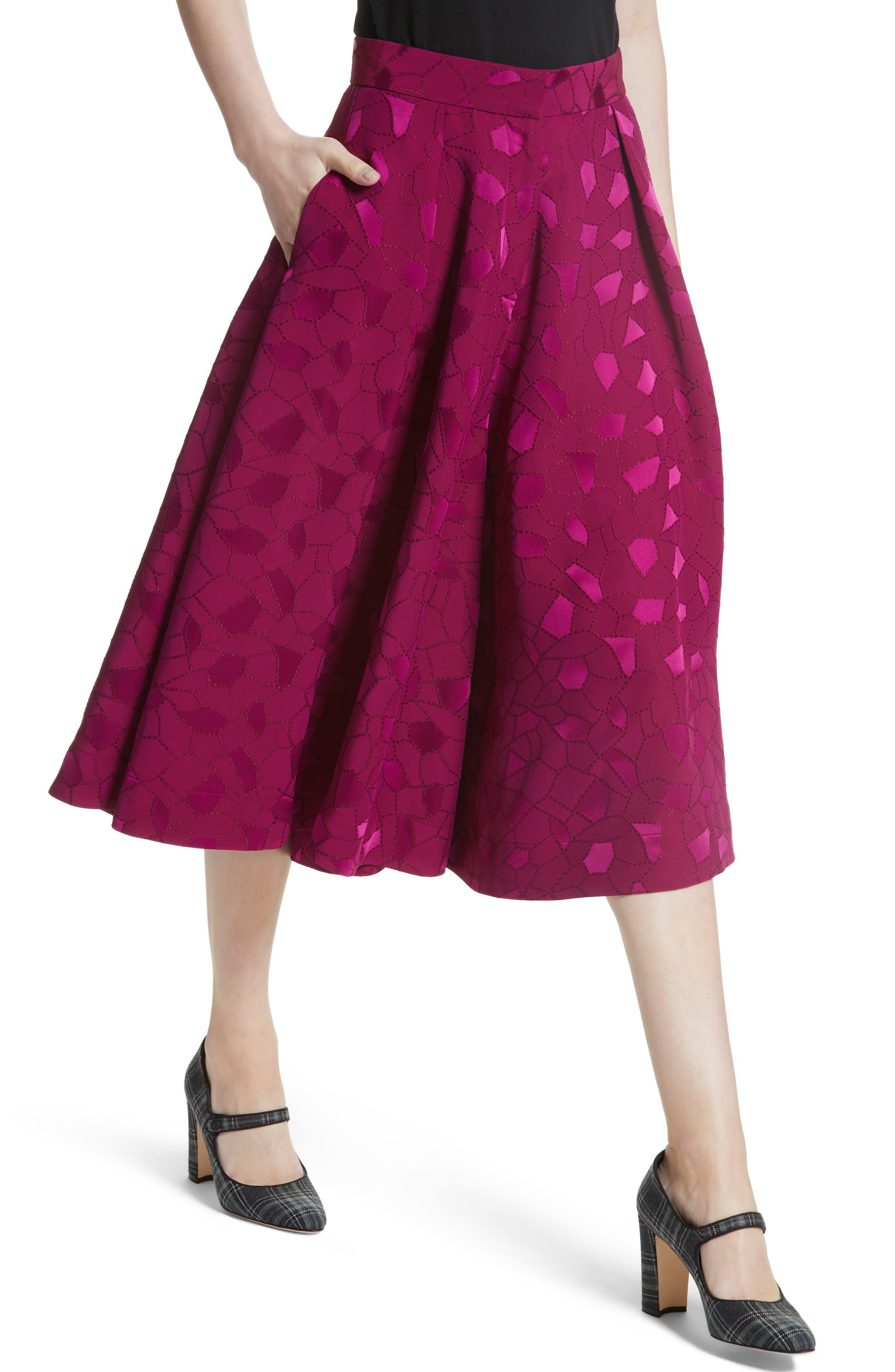 Mosaic Jacquard Midi Skirt,                             Alternate thumbnail 4, color,                             Pink