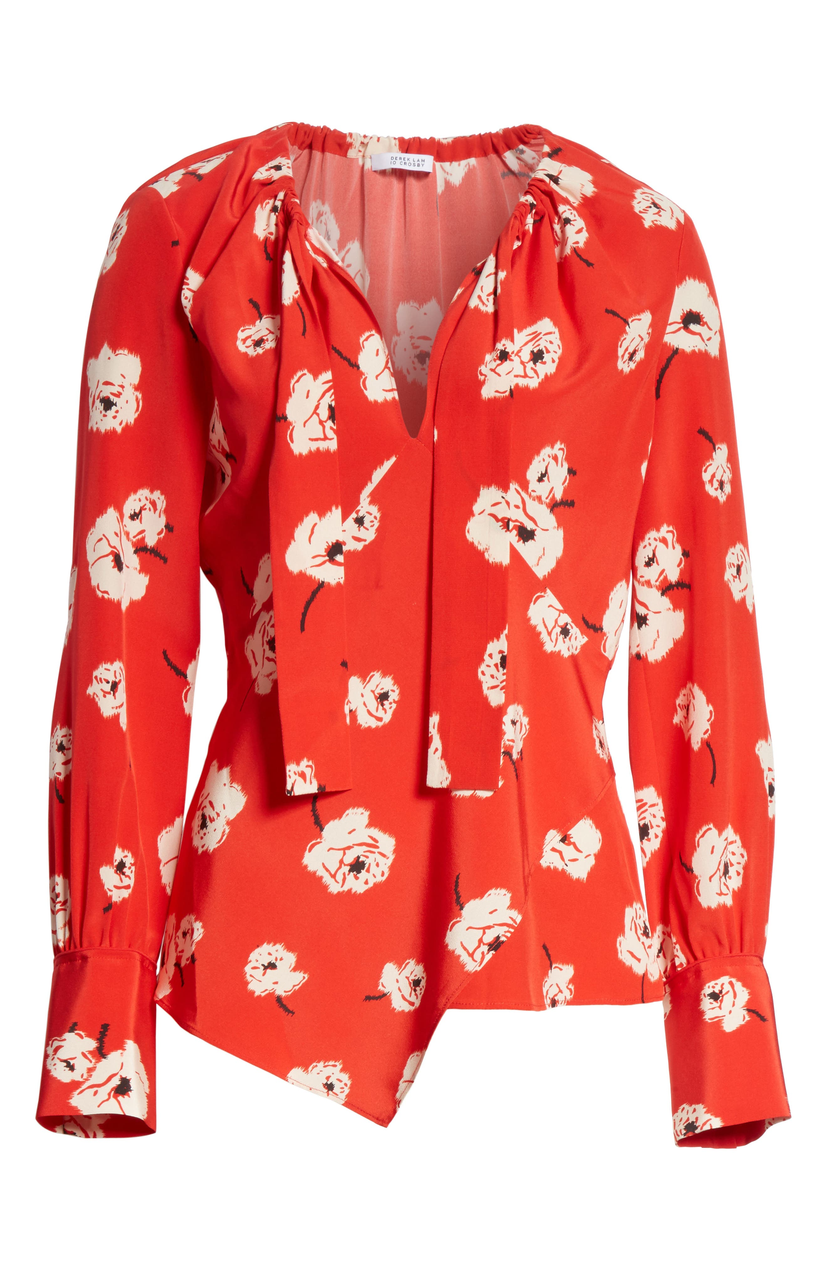 Asymmetrical Floral Silk Blouse,                             Alternate thumbnail 6, color,                             Red Clay