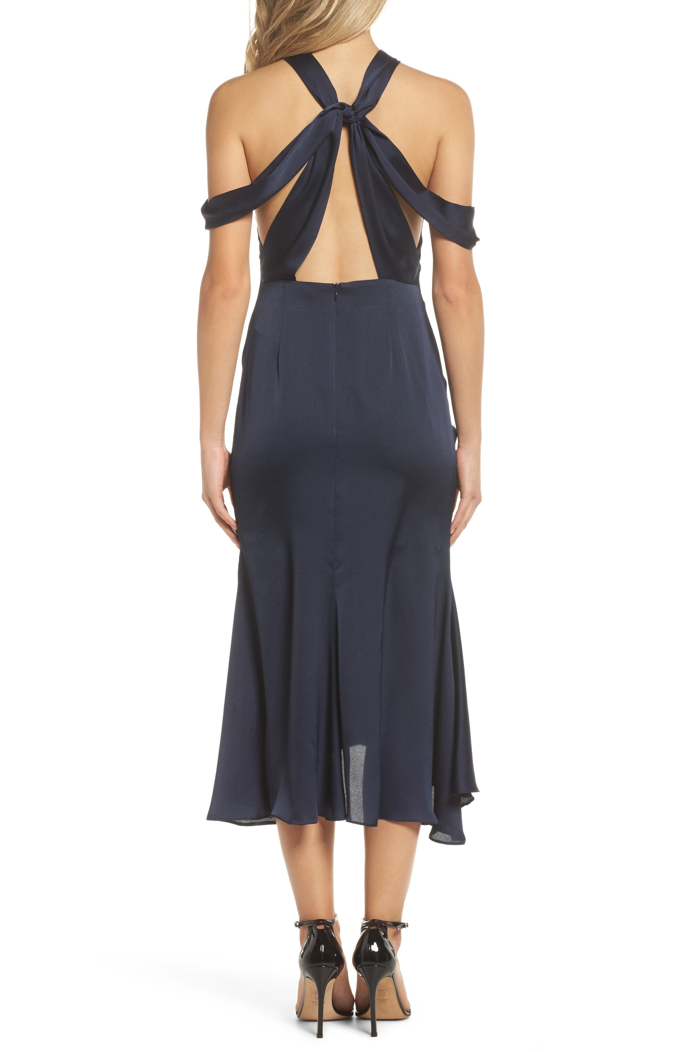 Dark Paradise Strappy Back Ruched Midi Dress,                             Alternate thumbnail 3, color,                             Navy