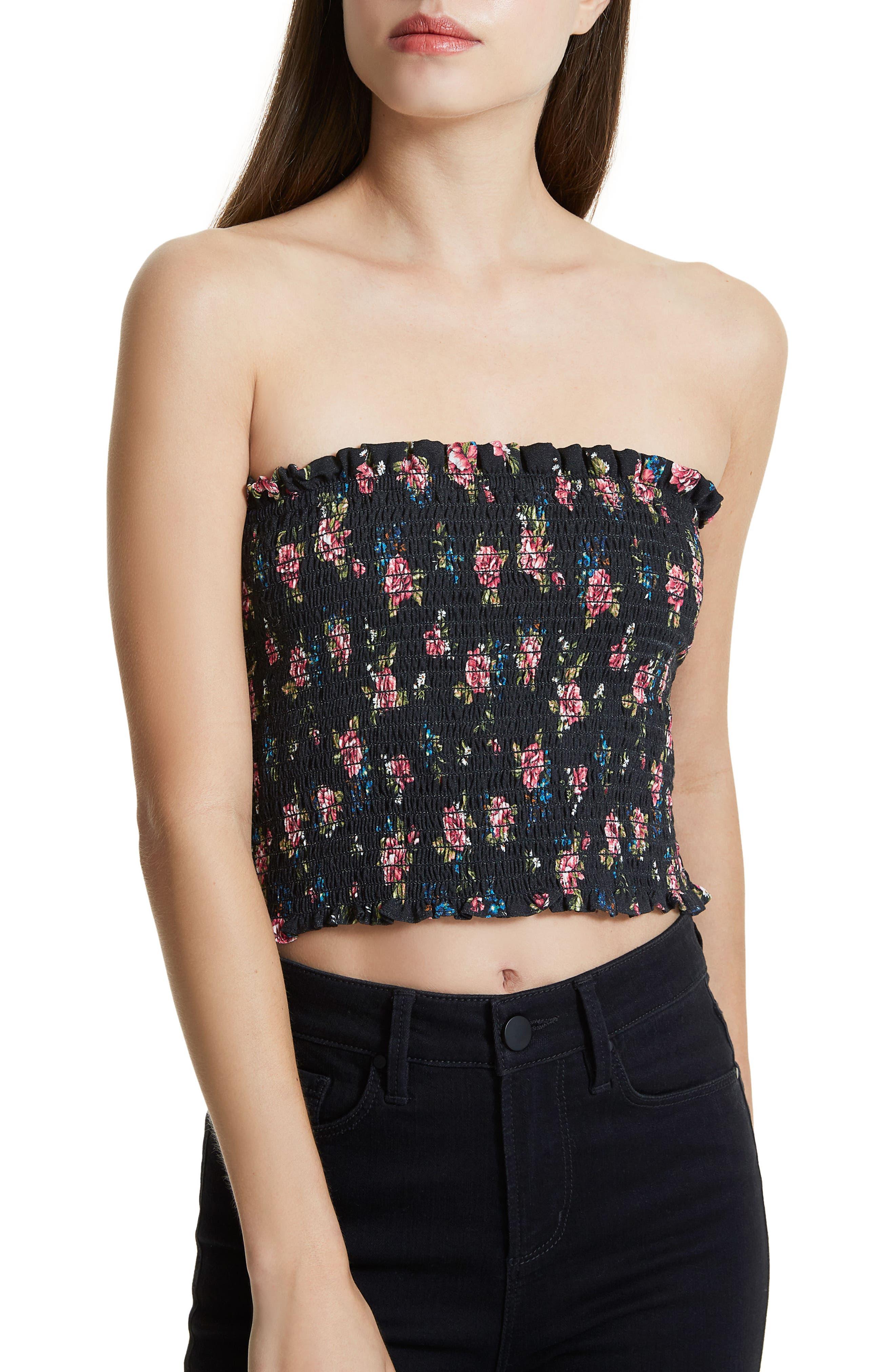 Ellie Smocked Crop Top,                         Main,                         color, Noir Rose
