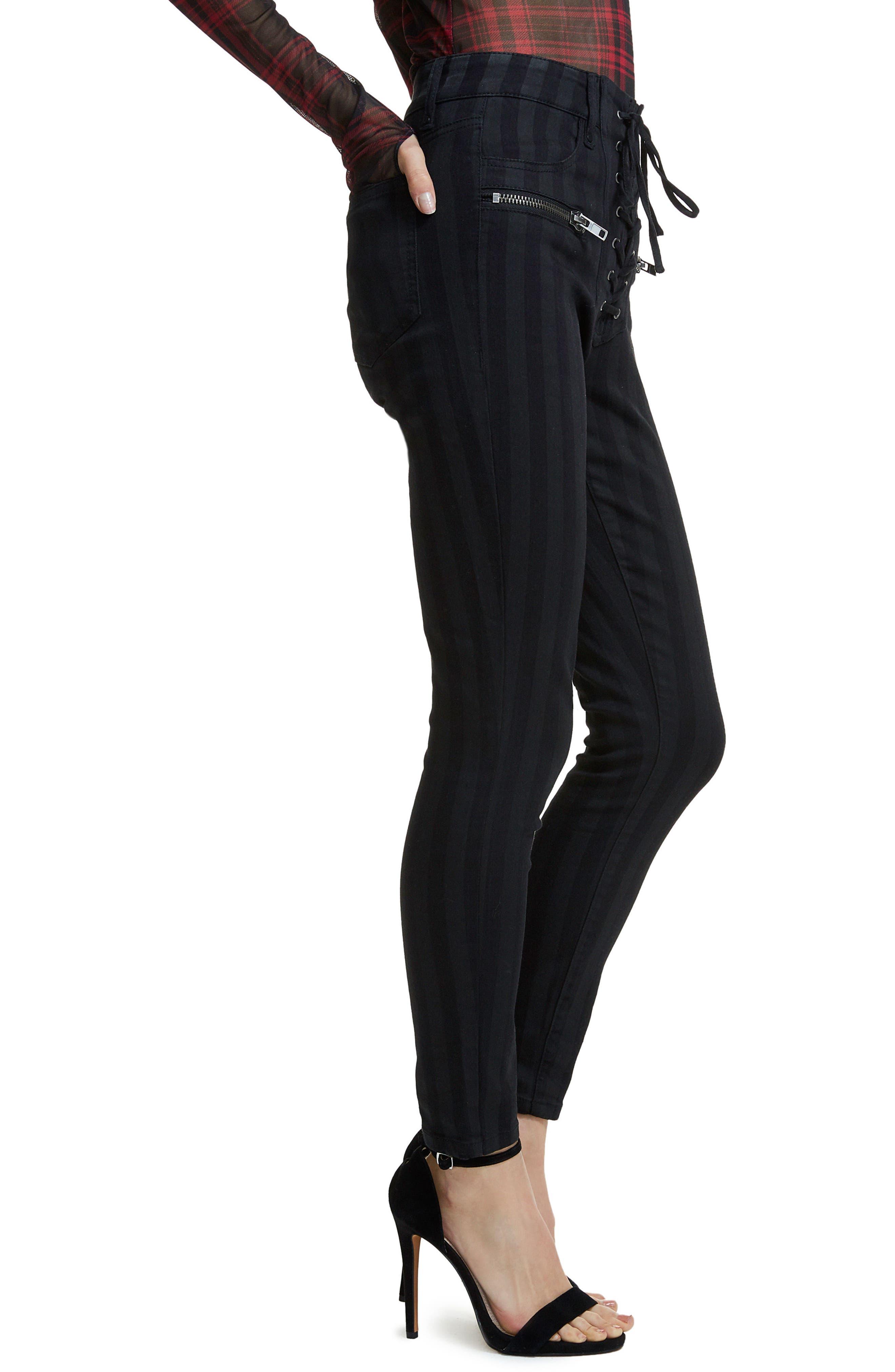 Alden Lace-Up Skinny Jeans,                             Alternate thumbnail 4, color,                             Noir Stripe
