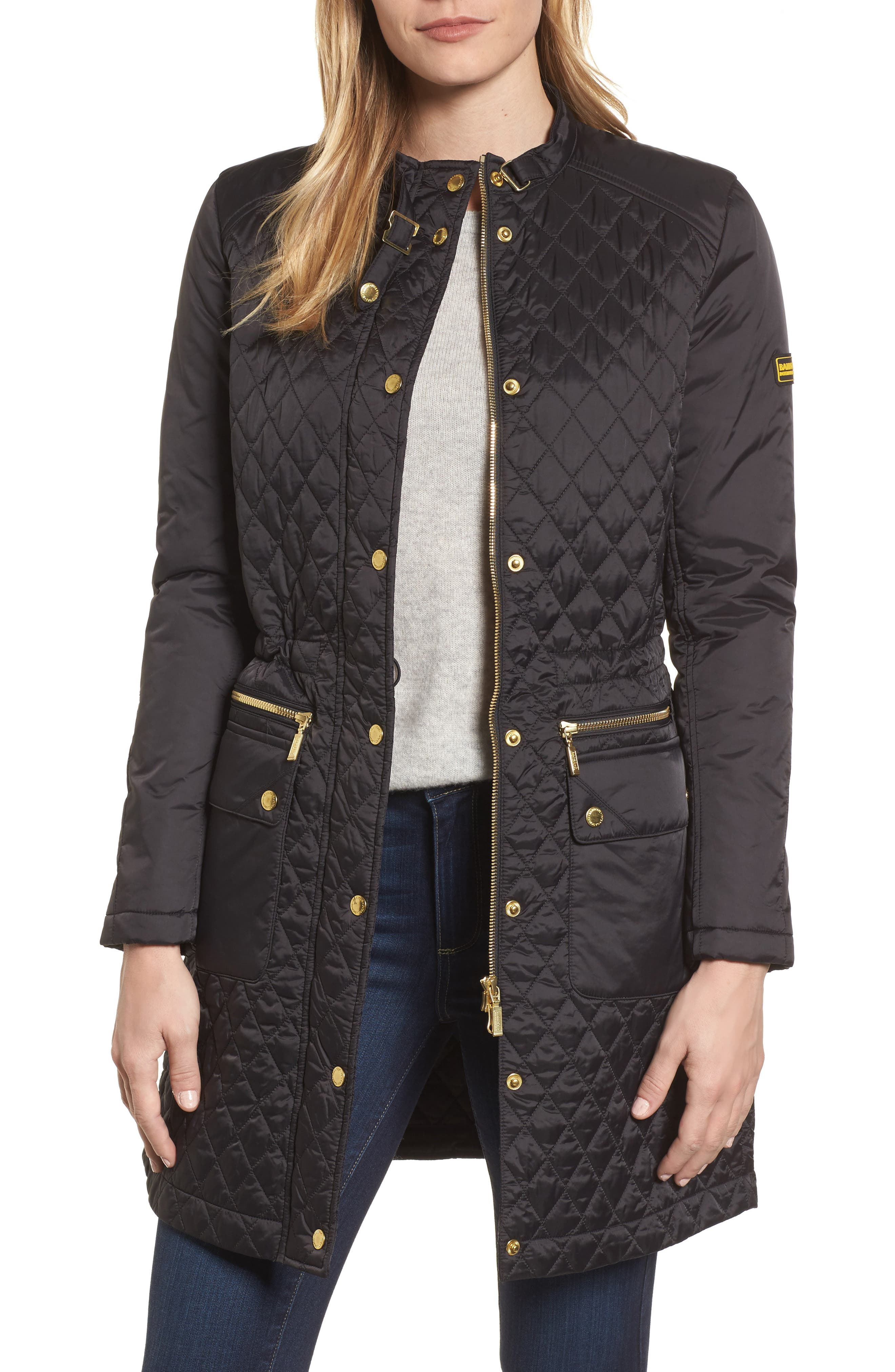 Quilted Jacket,                             Main thumbnail 1, color,                             Black