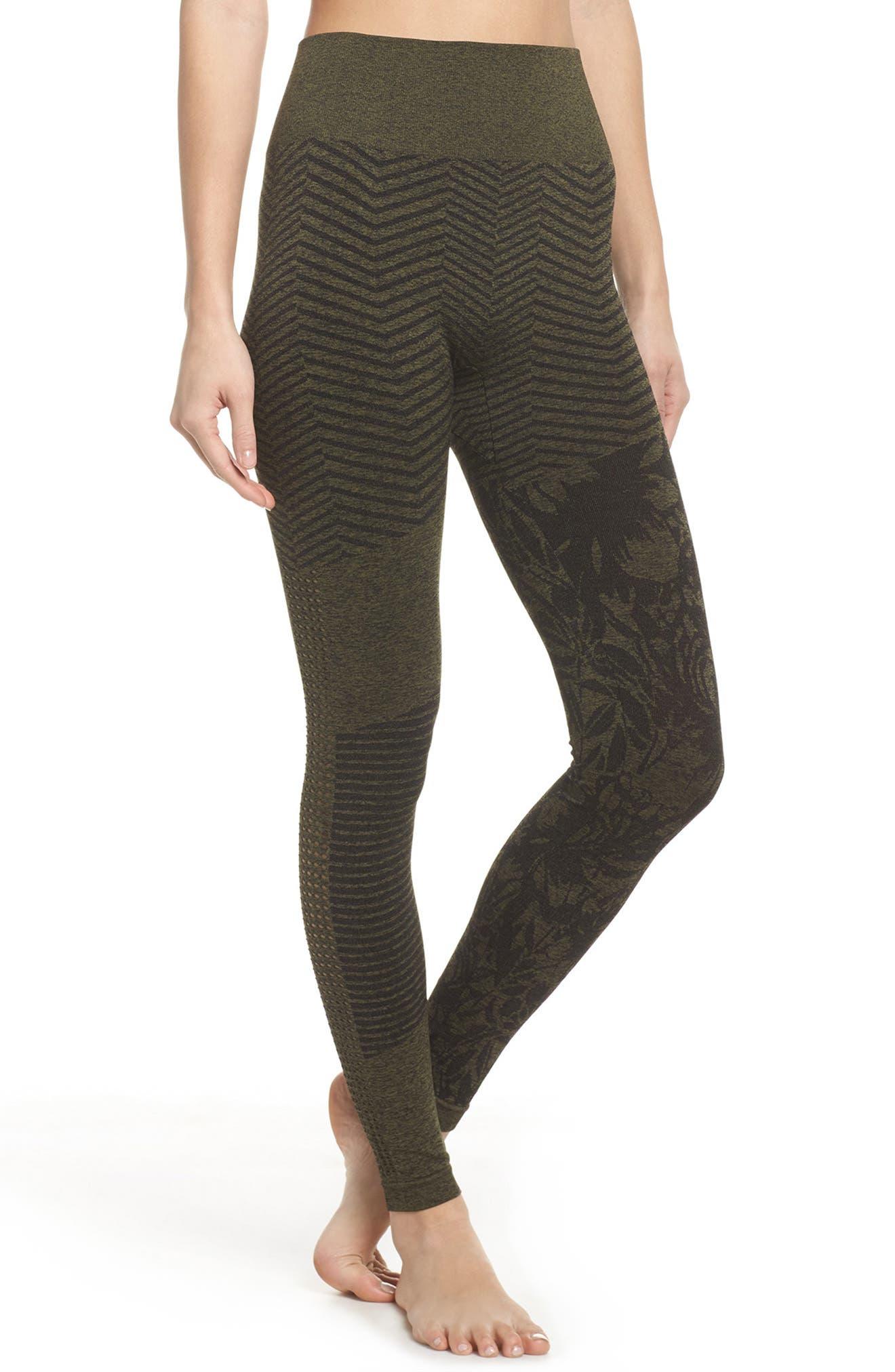 Cadence High Waist Leggings,                         Main,                         color, Deep Lichen Green/ Black