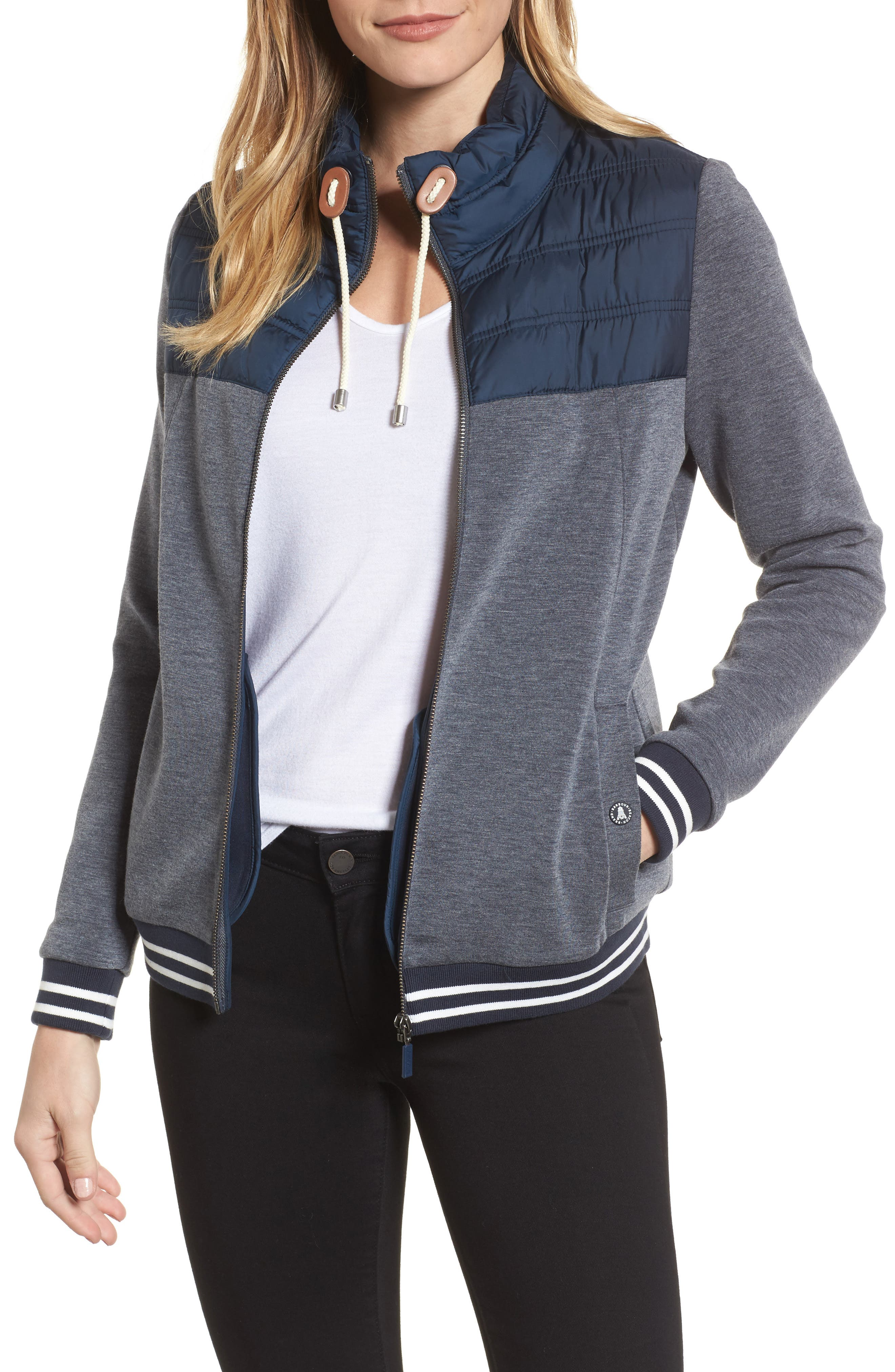 Selsey Zip Sweater,                         Main,                         color, Navy Marl