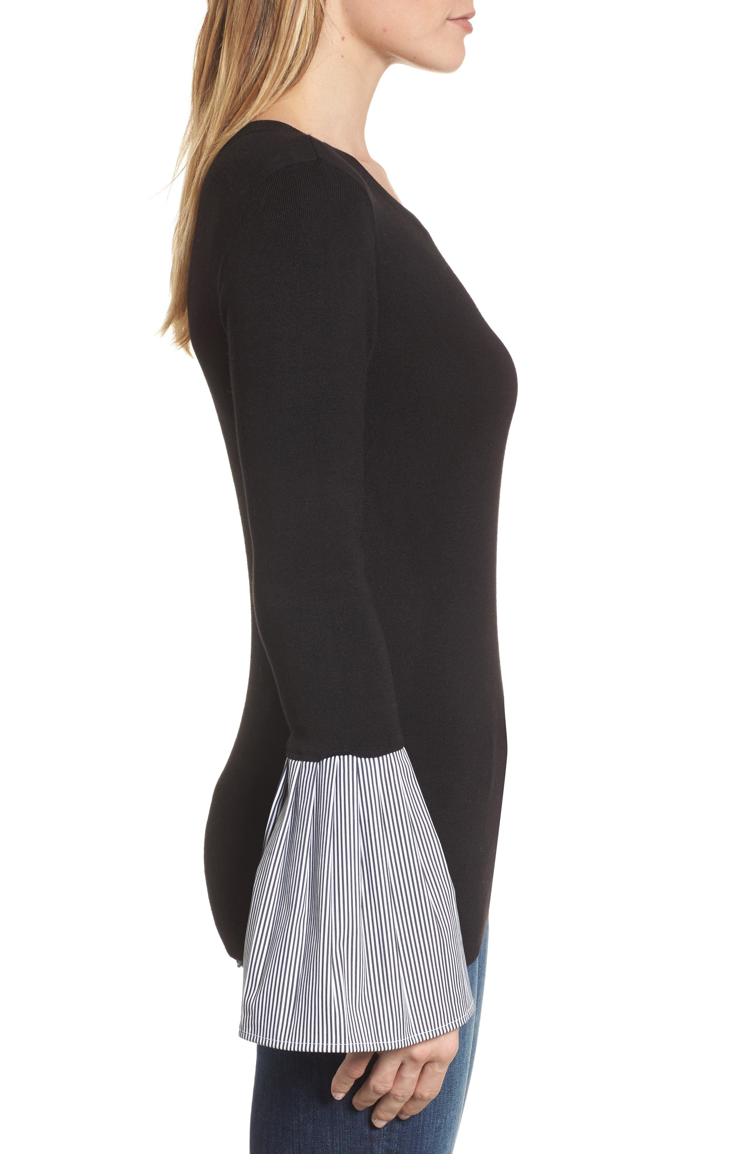 Poplin Bell Cuff Sweater,                             Alternate thumbnail 3, color,                             Black