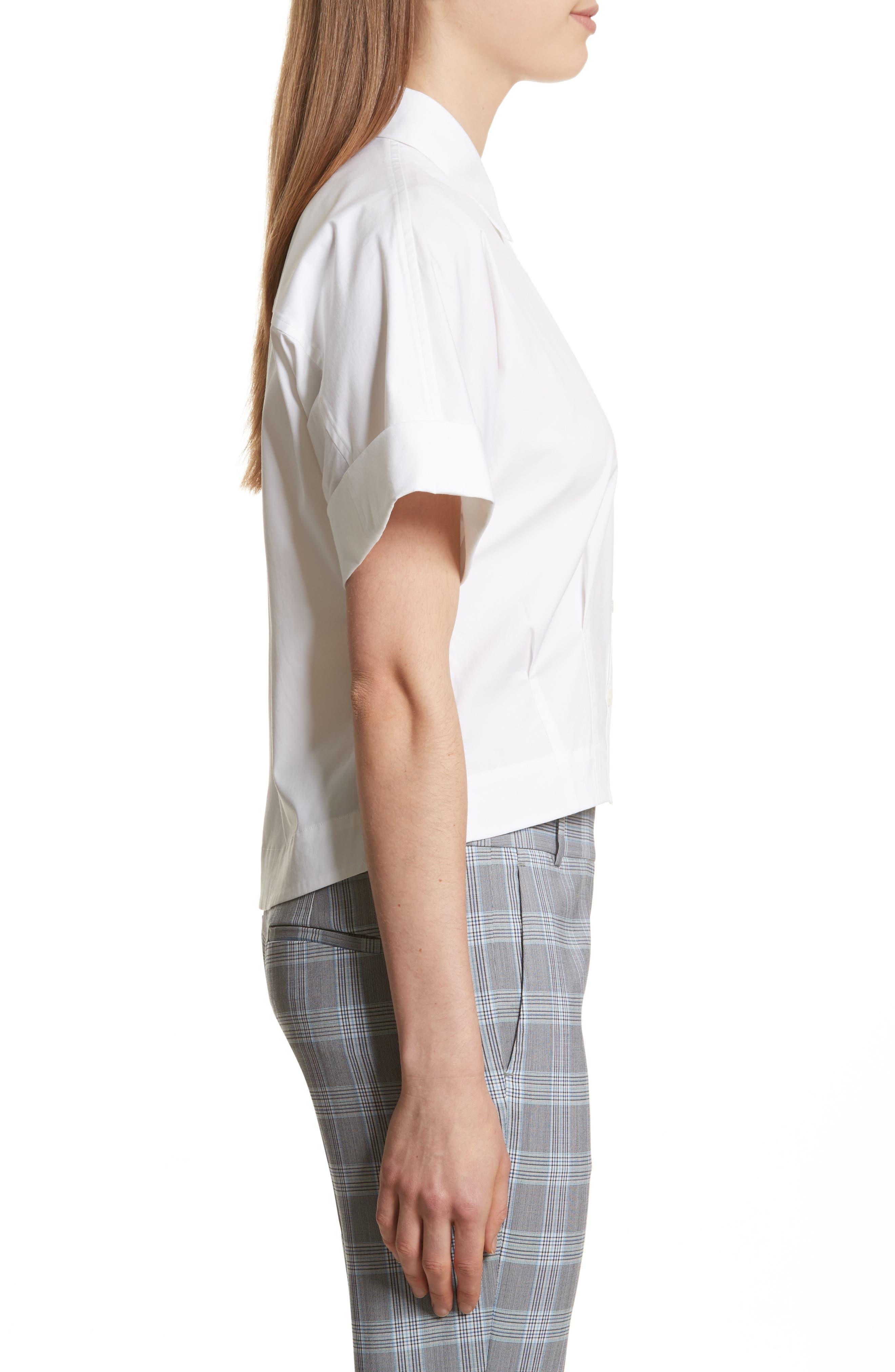 Stretch Cotton Crop Button Down Shirt,                             Alternate thumbnail 3, color,                             White
