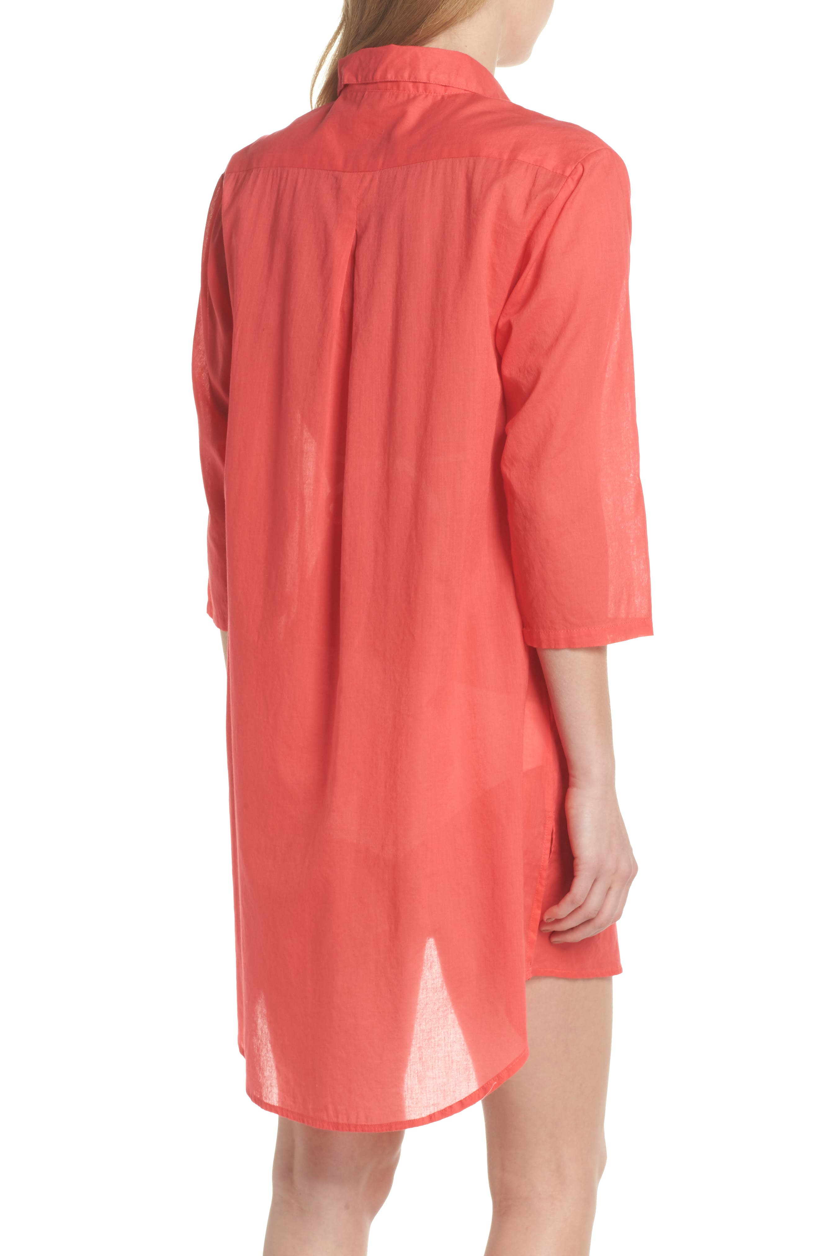 Solid Cover-Up Dress,                             Alternate thumbnail 2, color,                             Hibiscus