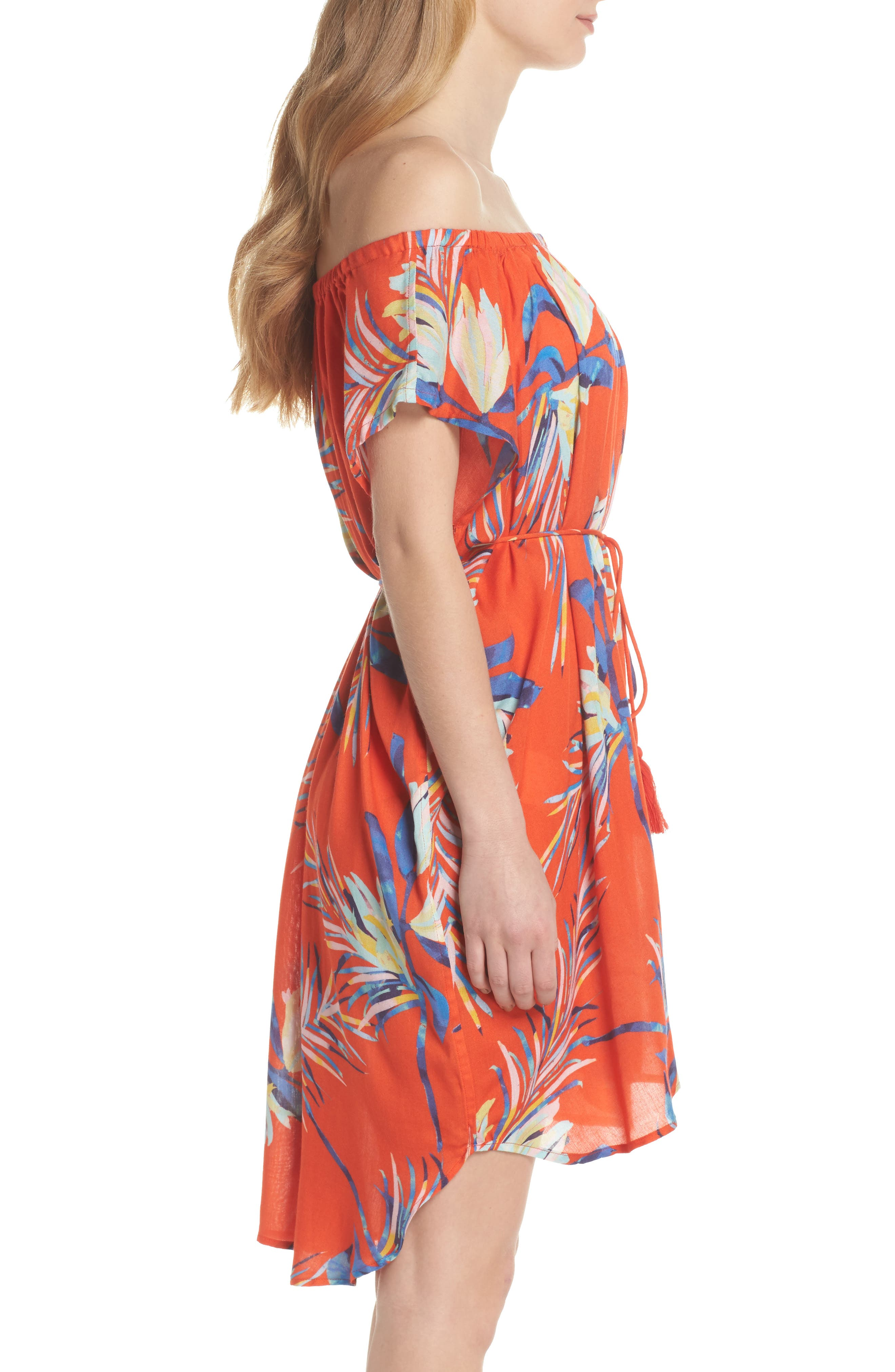 Paradise Palm Off the Shoulder Cover-Up Dress,                             Alternate thumbnail 3, color,                             Tangerine