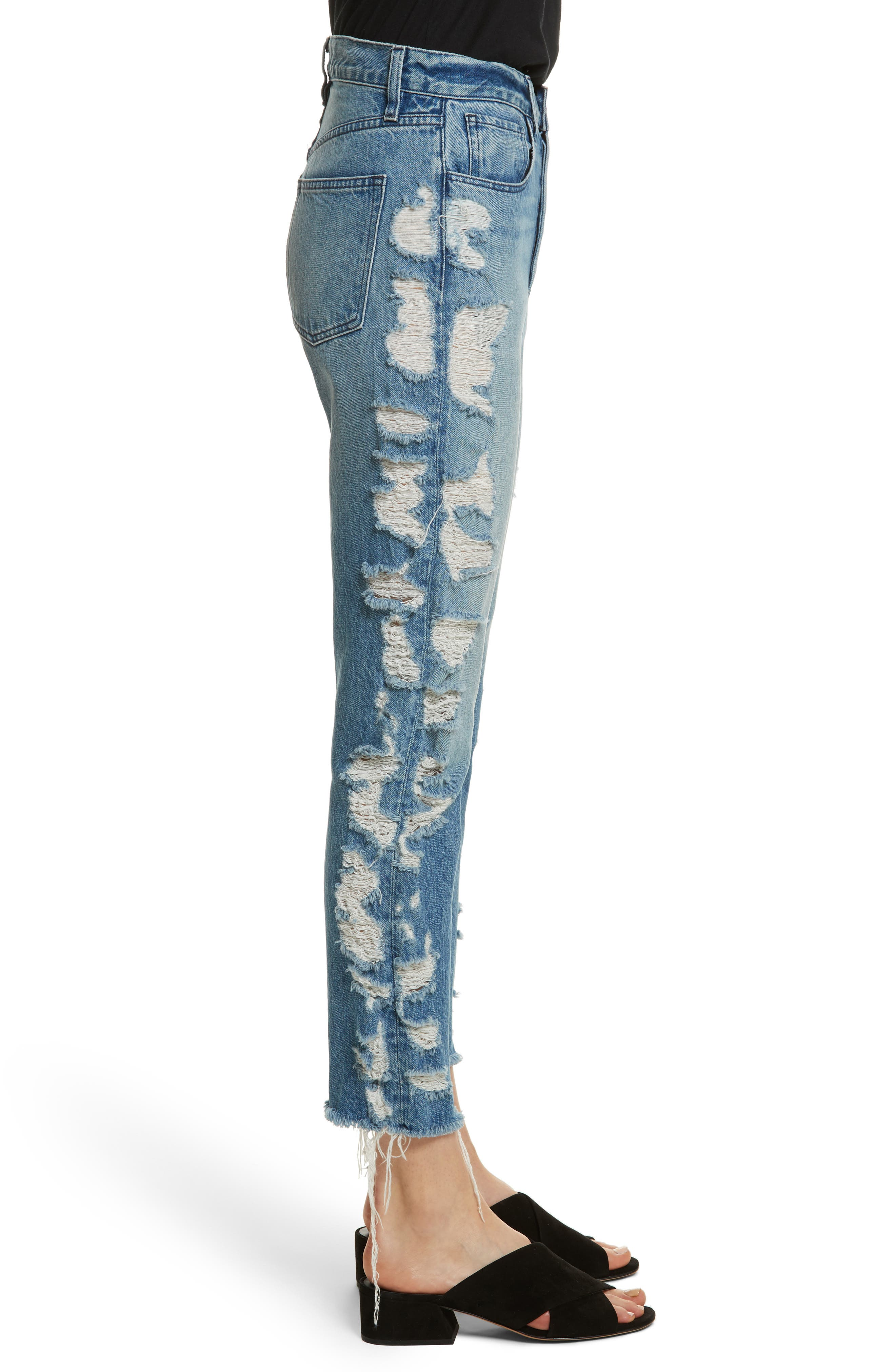 W3 Higher Ground Distressed Ankle Slim Fit Jeans,                             Alternate thumbnail 3, color,                             Dosa