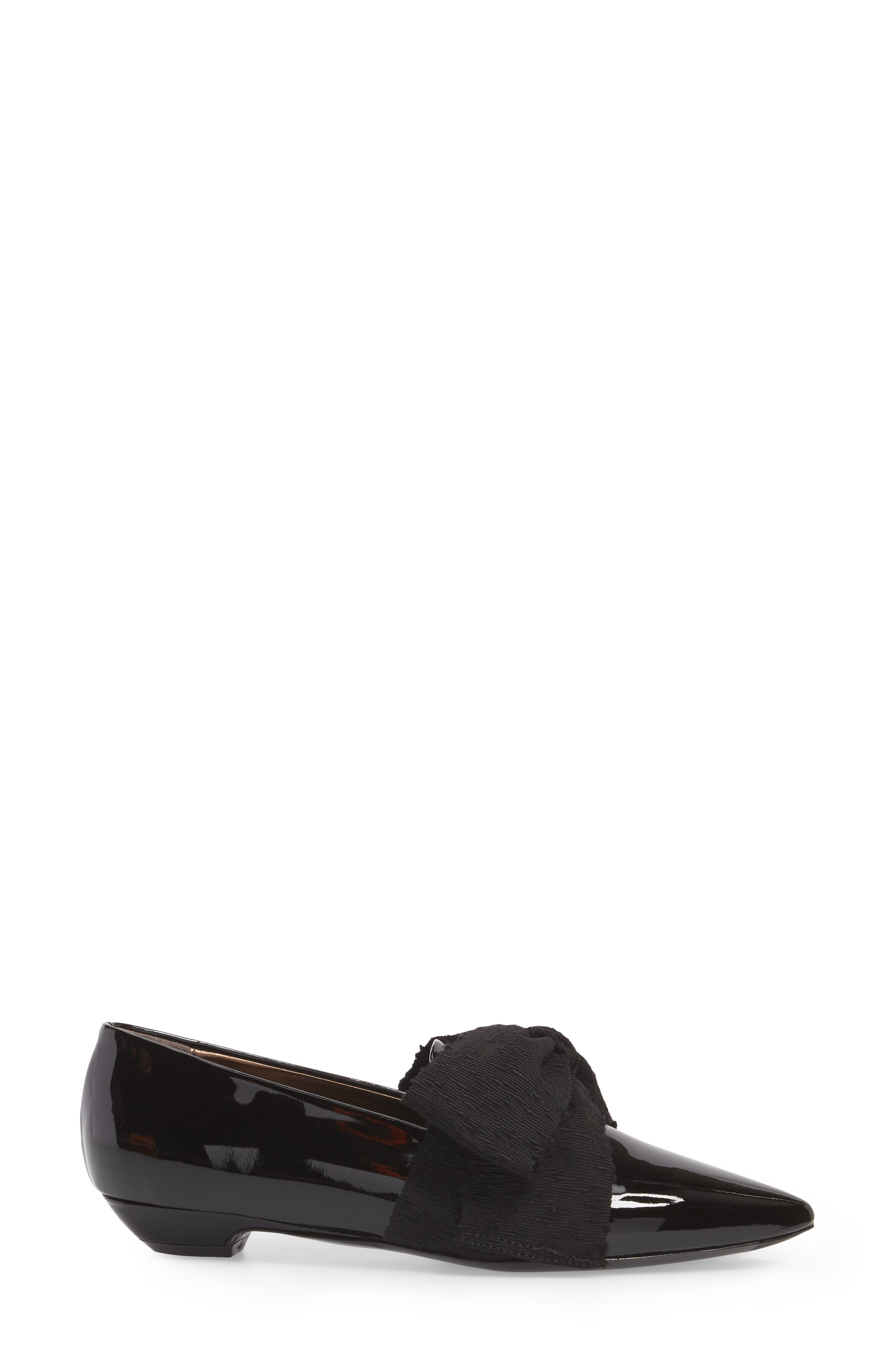 Maggie Bow Loafer,                             Alternate thumbnail 3, color,                             Black Patent