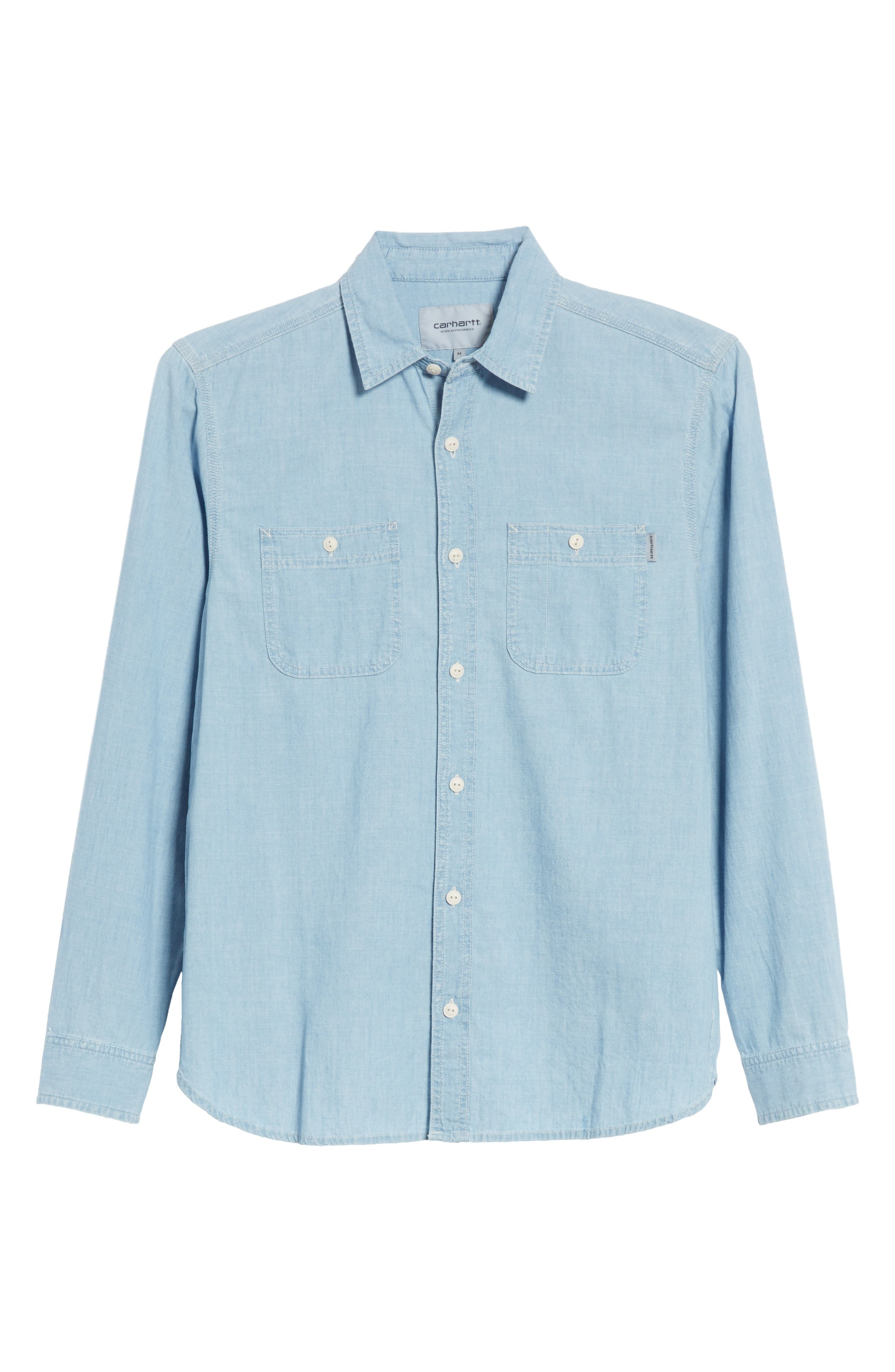 Clink Chambray Shirt,                             Alternate thumbnail 6, color,                             Blue Stone Washed