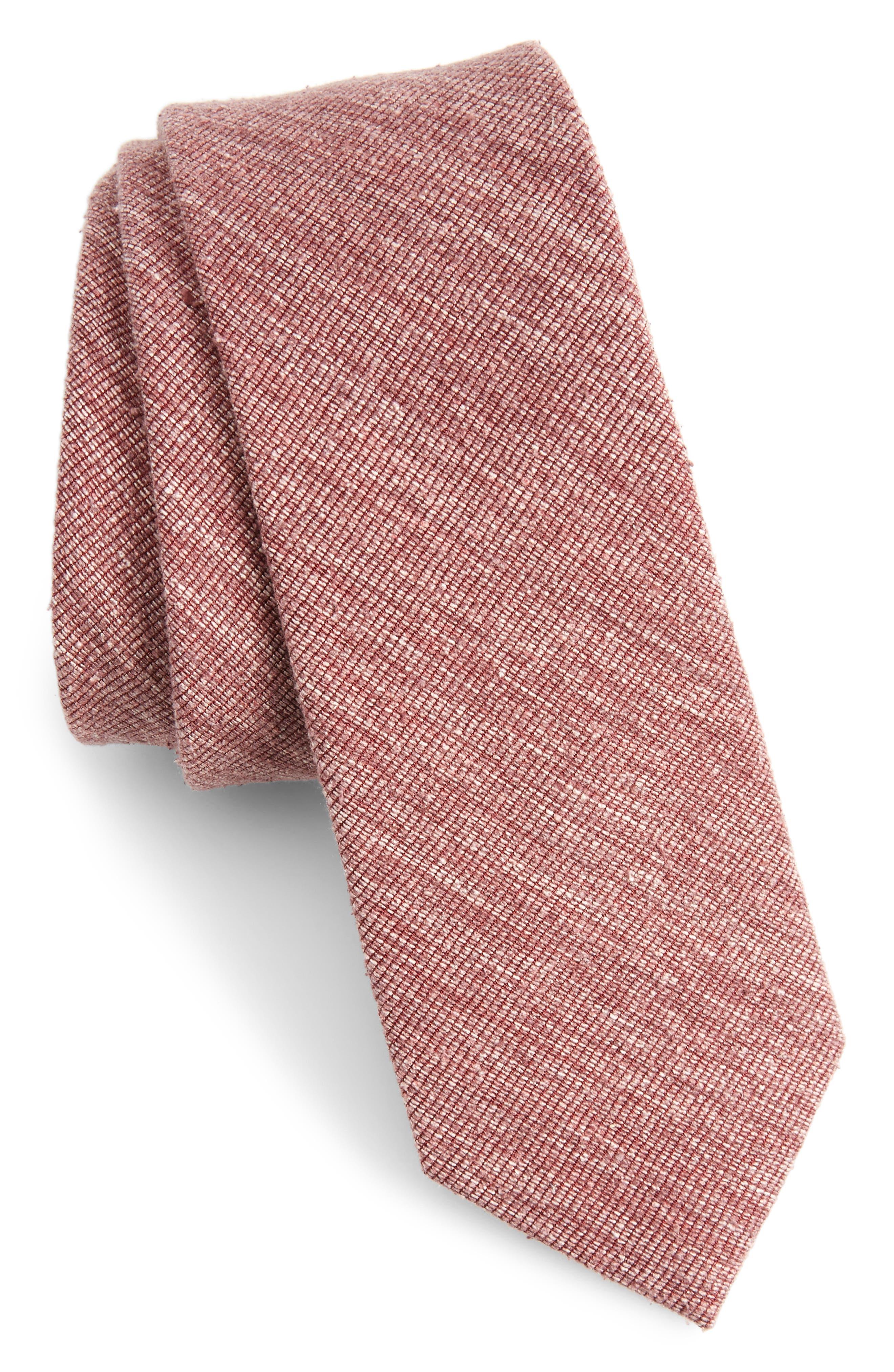 West Ridge Silk Skinny Tie,                         Main,                         color, Burgundy